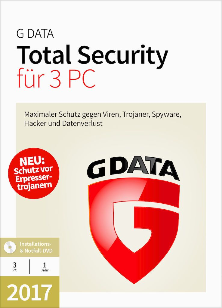 GDATA G Data Total Security 17.5  3 PC Windows - CD-ROM