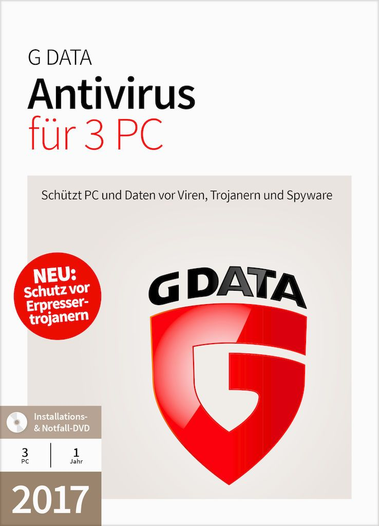 GDATA G Data AntiVirus 17.5  3 PC Windows - CD-ROM