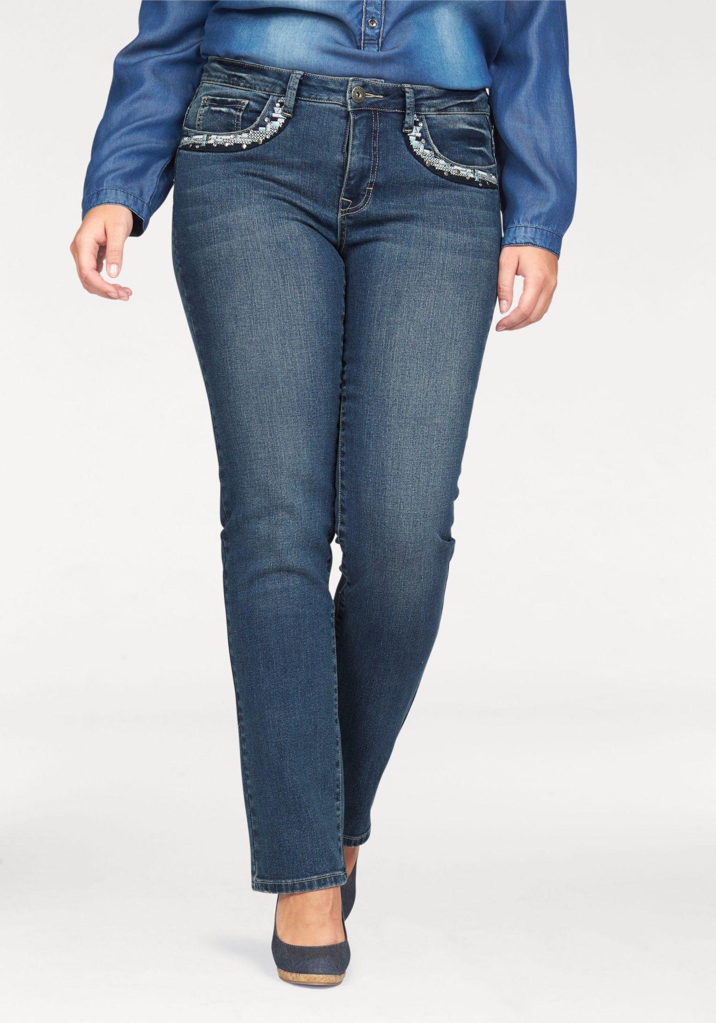 ARIZONA Arizona Gerade Jeans »mit  Stickerei und Nieten«