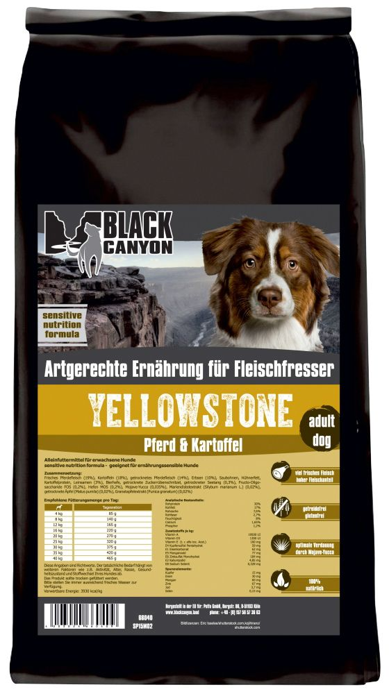 BLACK CANYON Black Canyon Hundetrockenfutter »Yellowstone Pferd & Kartoffel«, 15 kg