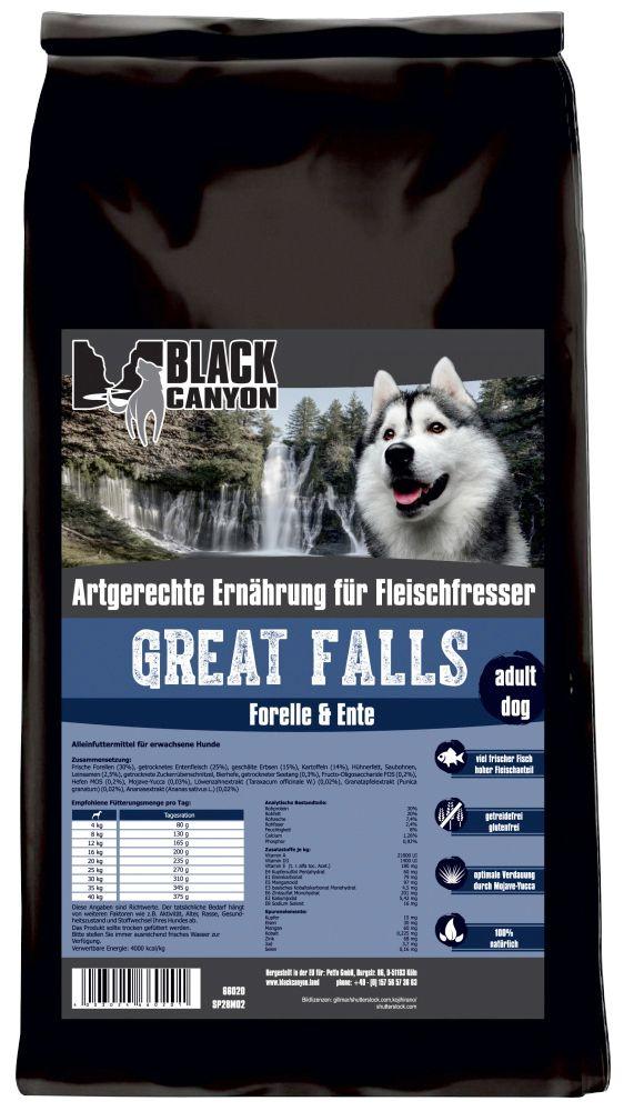 BLACK CANYON Black Canyon Hundetrockenfutter »Great Falls Ente & Forelle«, 15 kg