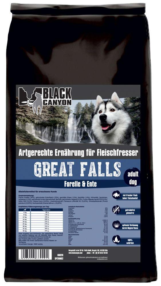 BLACK CANYON Black Canyon Hundetrockenfutter »Great Falls Ente & Forelle«, 5 kg