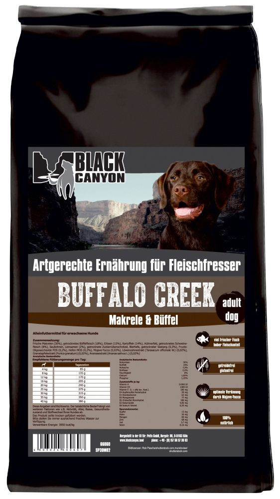 BLACK CANYON Black Canyon Hundetrockenfutter »Buffalo Creek Büffel & Makrele«, 15 kg