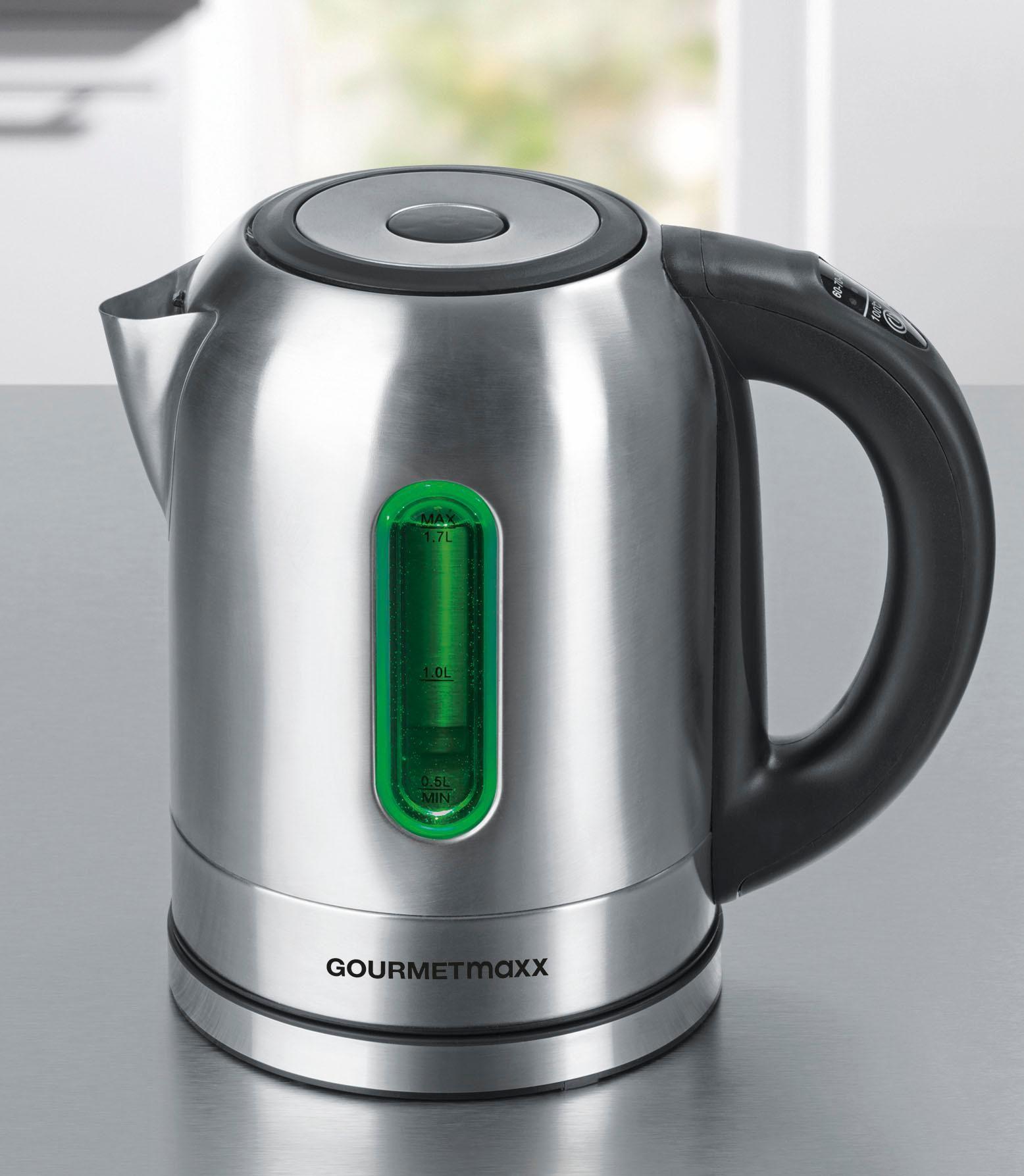 GOURMETMAXX Gourmet Maxx Wasserkocher, LED-Temperaturwahl, 1,7 Liter, 2200 Watt, Edelstahl