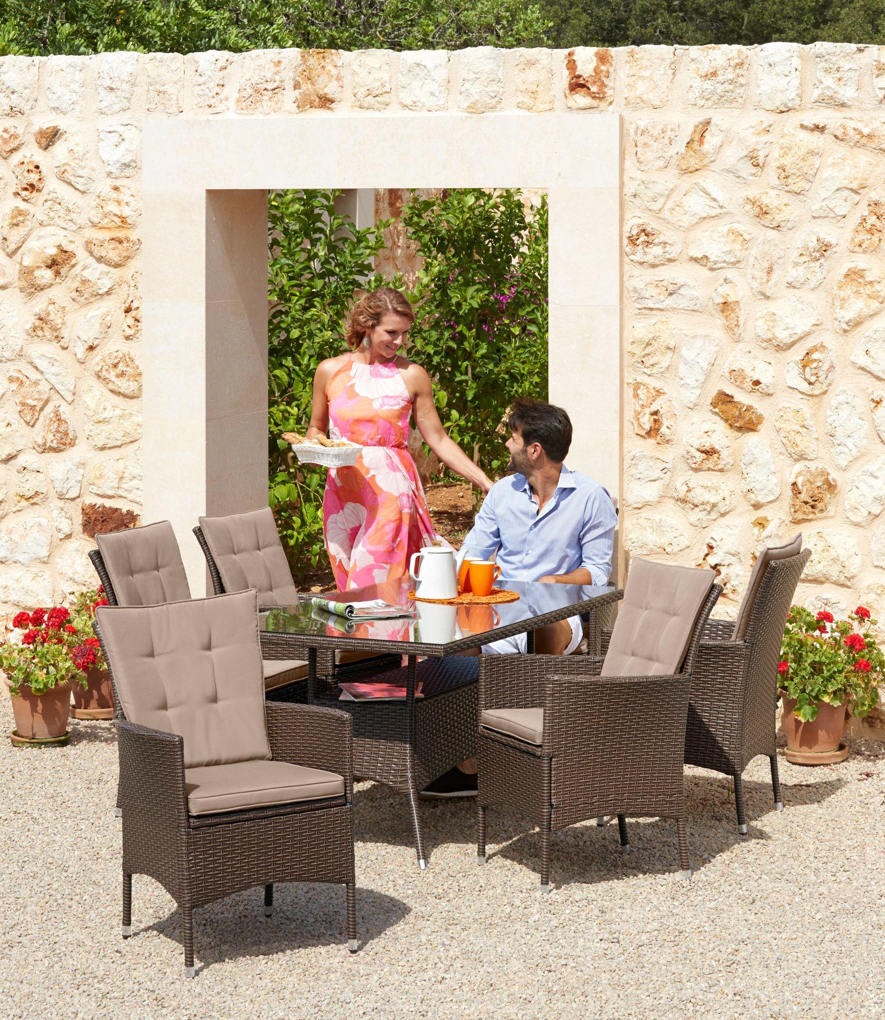 20-tgl. Gartenmöbelset »Santiago New«, 6 Sessel, Tisch 150x80 cm, Polyrattan