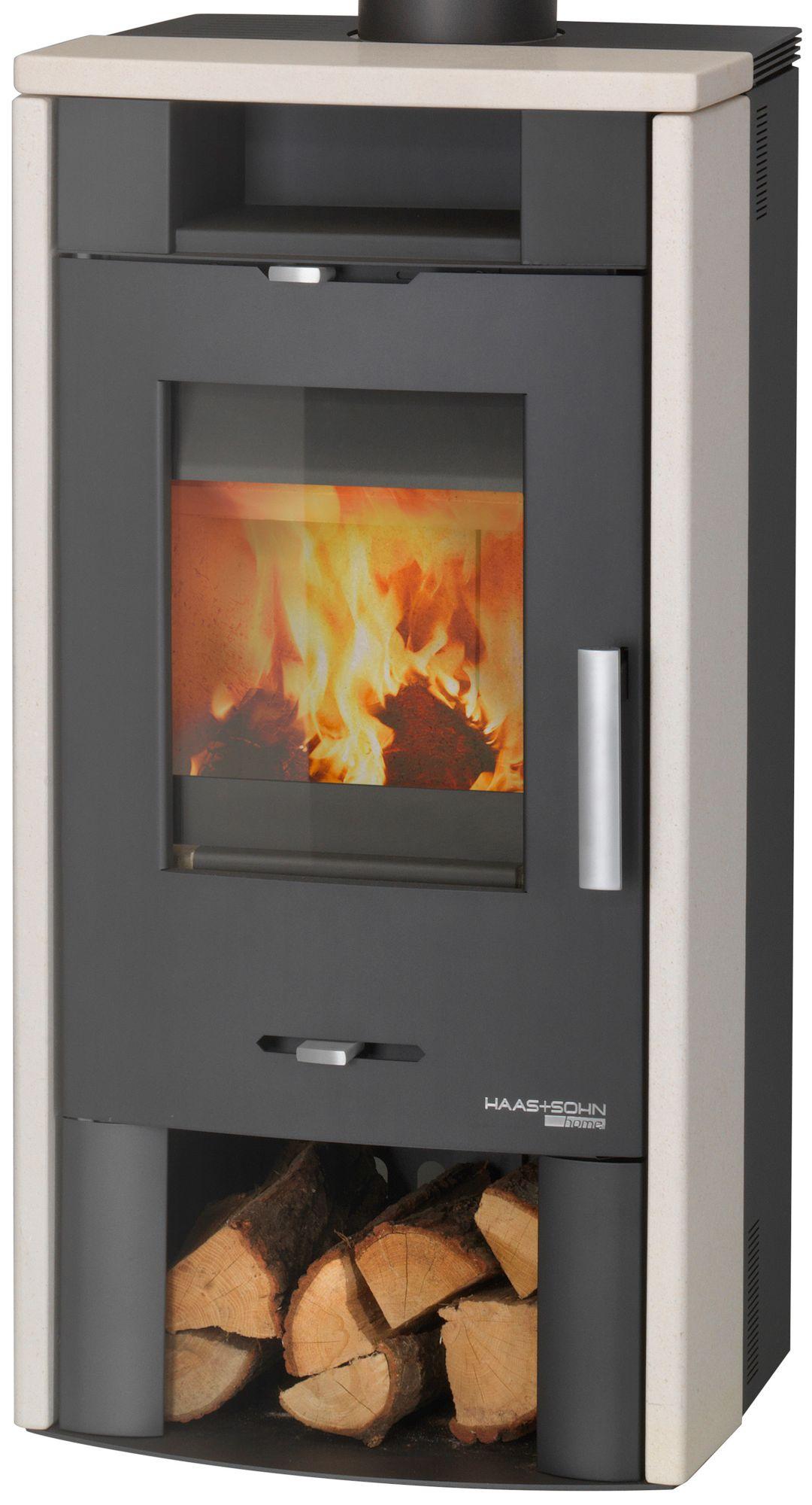HAAS SOHN Haas & Sohn Kaminofen »Andorra«, Kalkstein weiß, 7 kW, Teefach