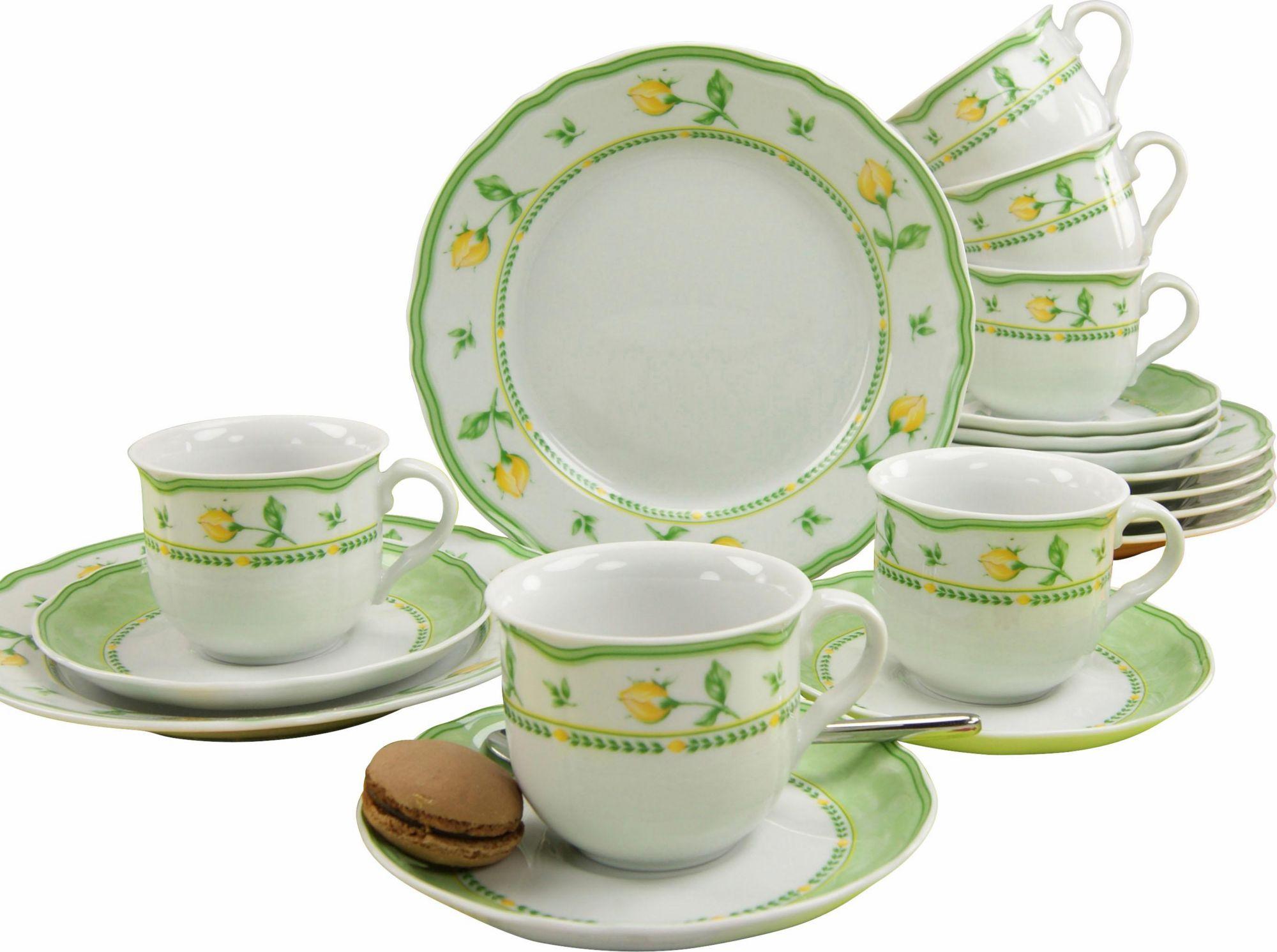 CREATABLE CreaTable Kaffeeservice Porzellan, 18 Teile, »Spring Rose«