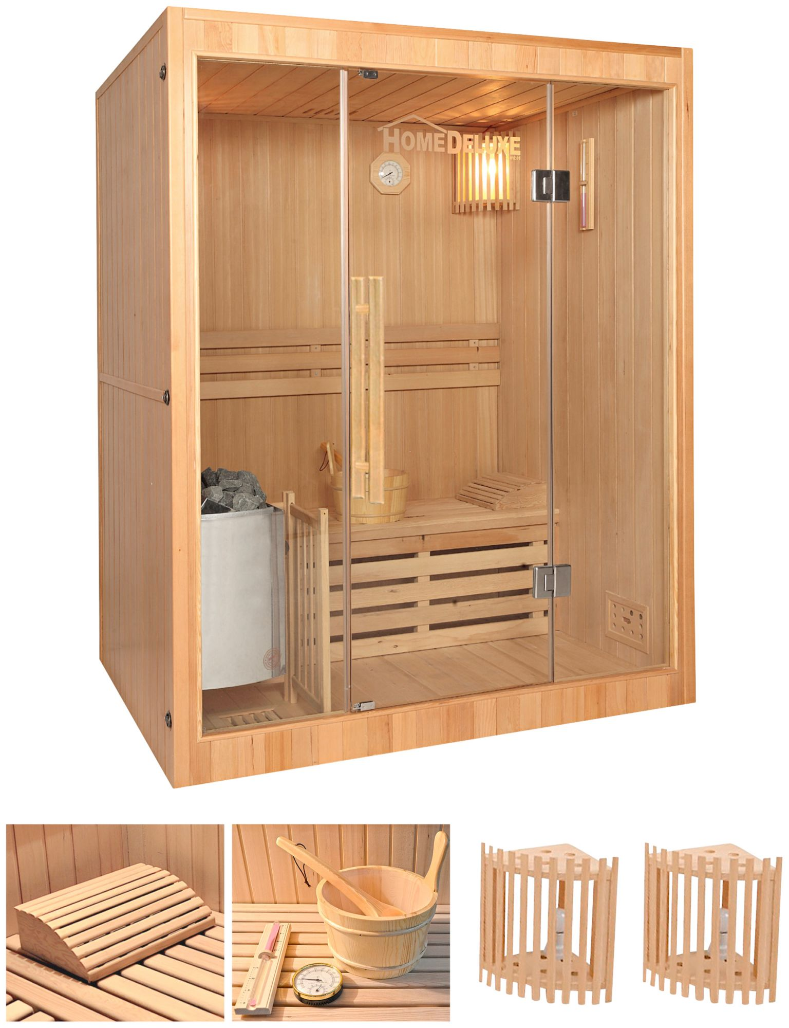 HOME DELUXE  Elementsauna »Skyline L«, 150/120/190 cm, 50 mm, 3,5-KW-Ofen, int. Strg.