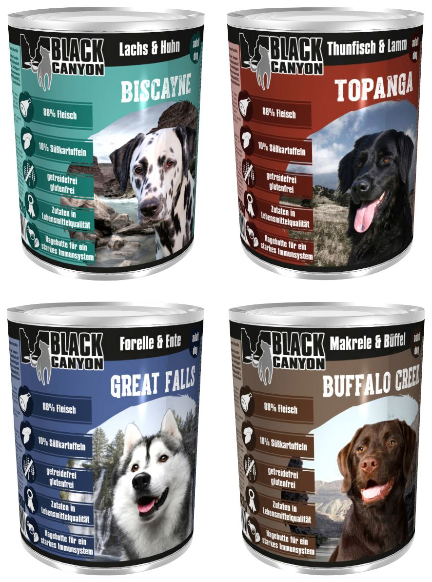 BLACK CANYON Set: Hundenassfutter »Set Nr. 3«, 4 Dosen á 820 g