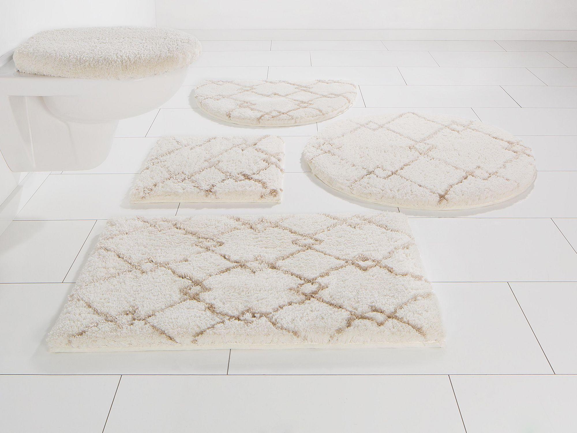 HOME AFFAIRE Badematte, 3 tlg. Hänge WC-Set, , »Amalie«, Höhe 26 mm, rutschhemmender Rücken, Höhe 26m
