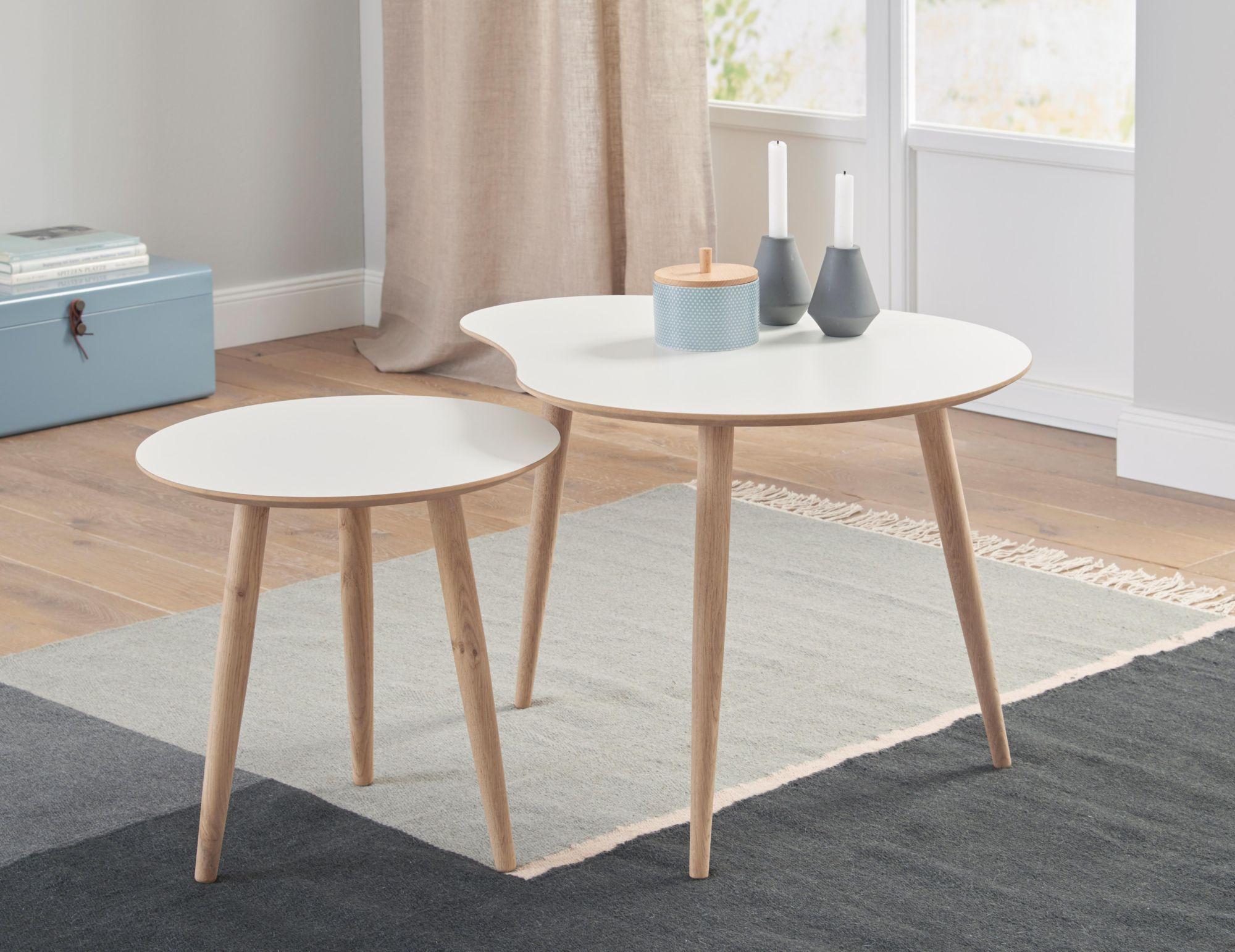 ANDAS andas Couchtisch-Set «Yvonne», Set aus 1 rundem und 1 nierenförmigem Tisch, 2 Größen zur Auswahl