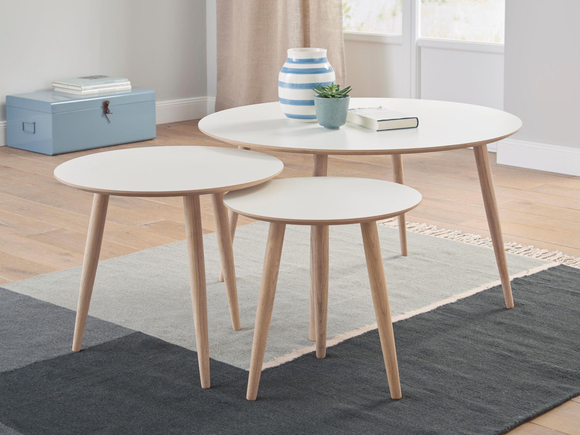ANDAS andas Couchtisch-Set «Yvonne»,  3 runde Tische in verschiedenen Größen