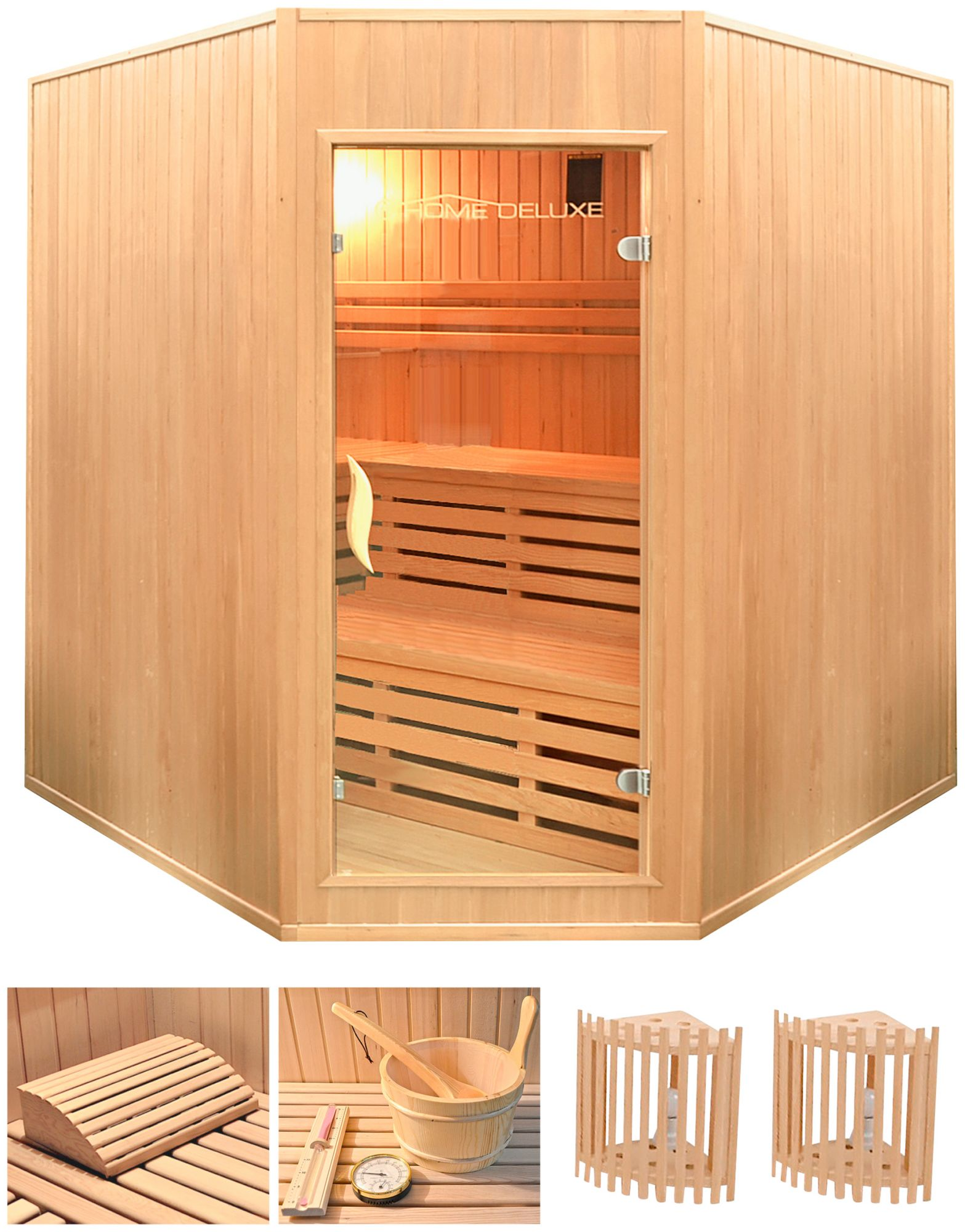 HOME DELUXE  Elementsauna »Relax XL BIG«, 200/200/200 cm, 50 mm, 8-KW-Ofen, int. Strg.