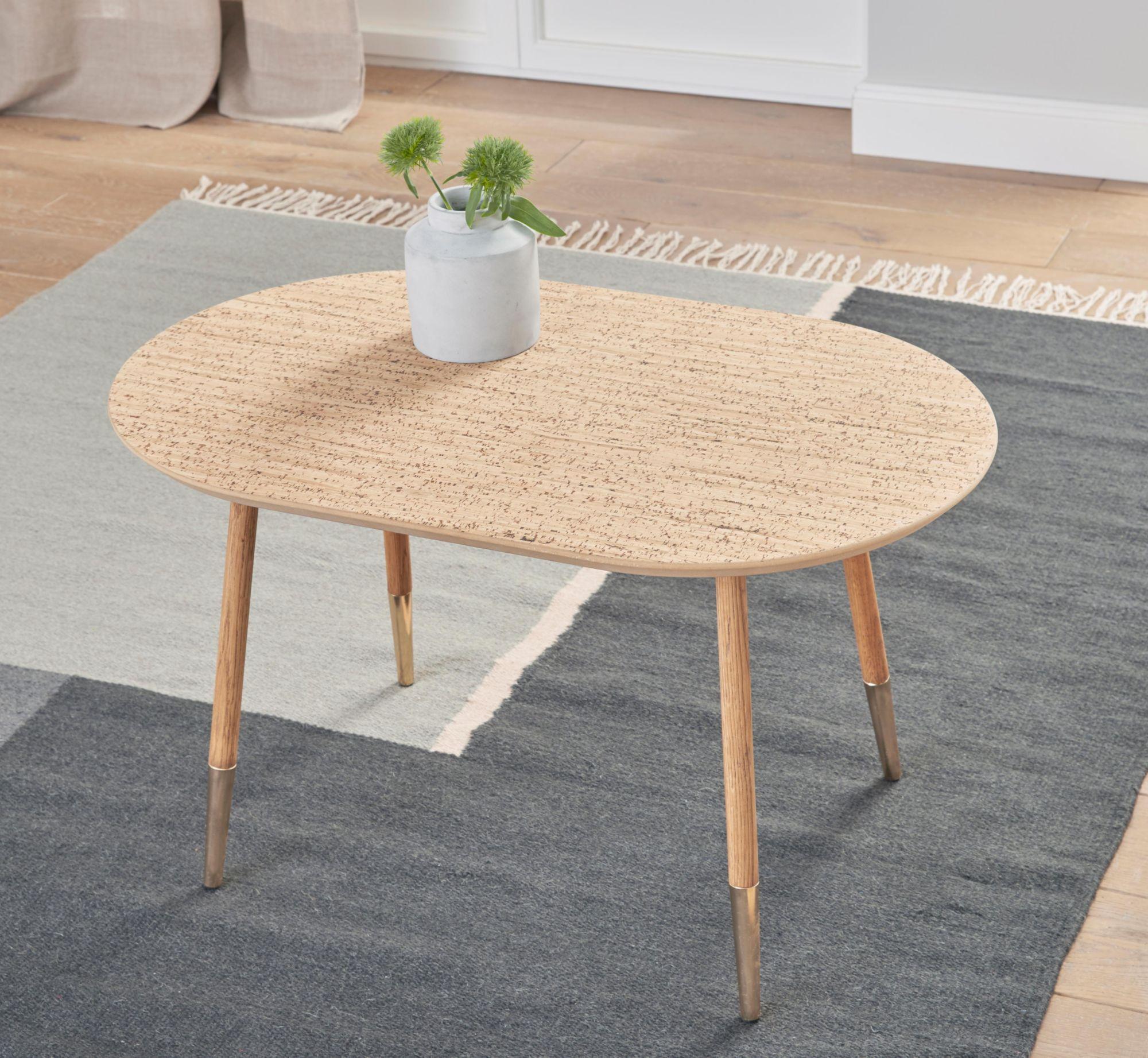 ANDAS andas Couchtisch «Nanna», mit Tischplatte aus Naturkork oder geölter Eiche