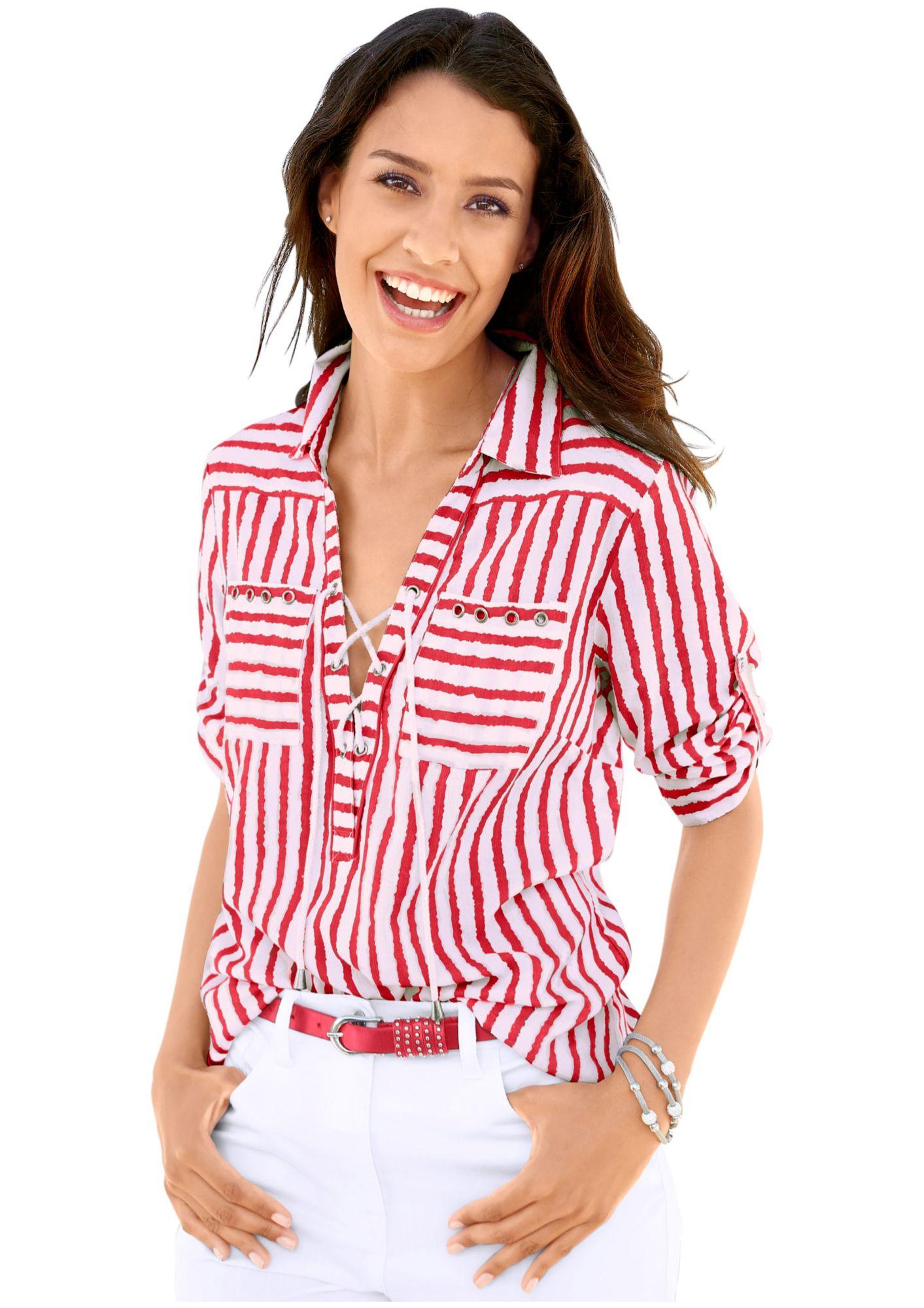 CLASSIC INSPIRATIONEN Classic Inspirationen Bluse mit trendigen Streifen Dessin