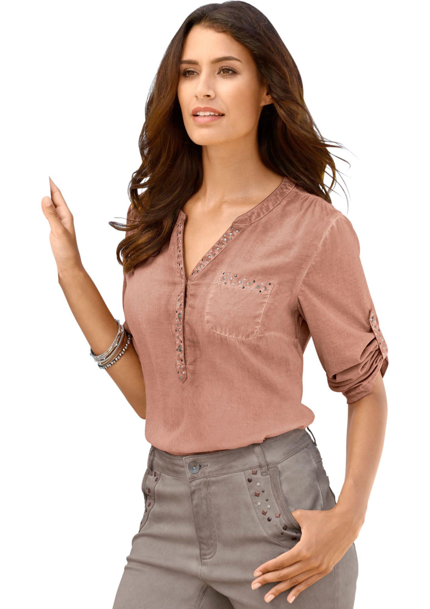 CLASSIC INSPIRATIONEN Classic Inspirationen Bluse mit dekorativen Ziernieten