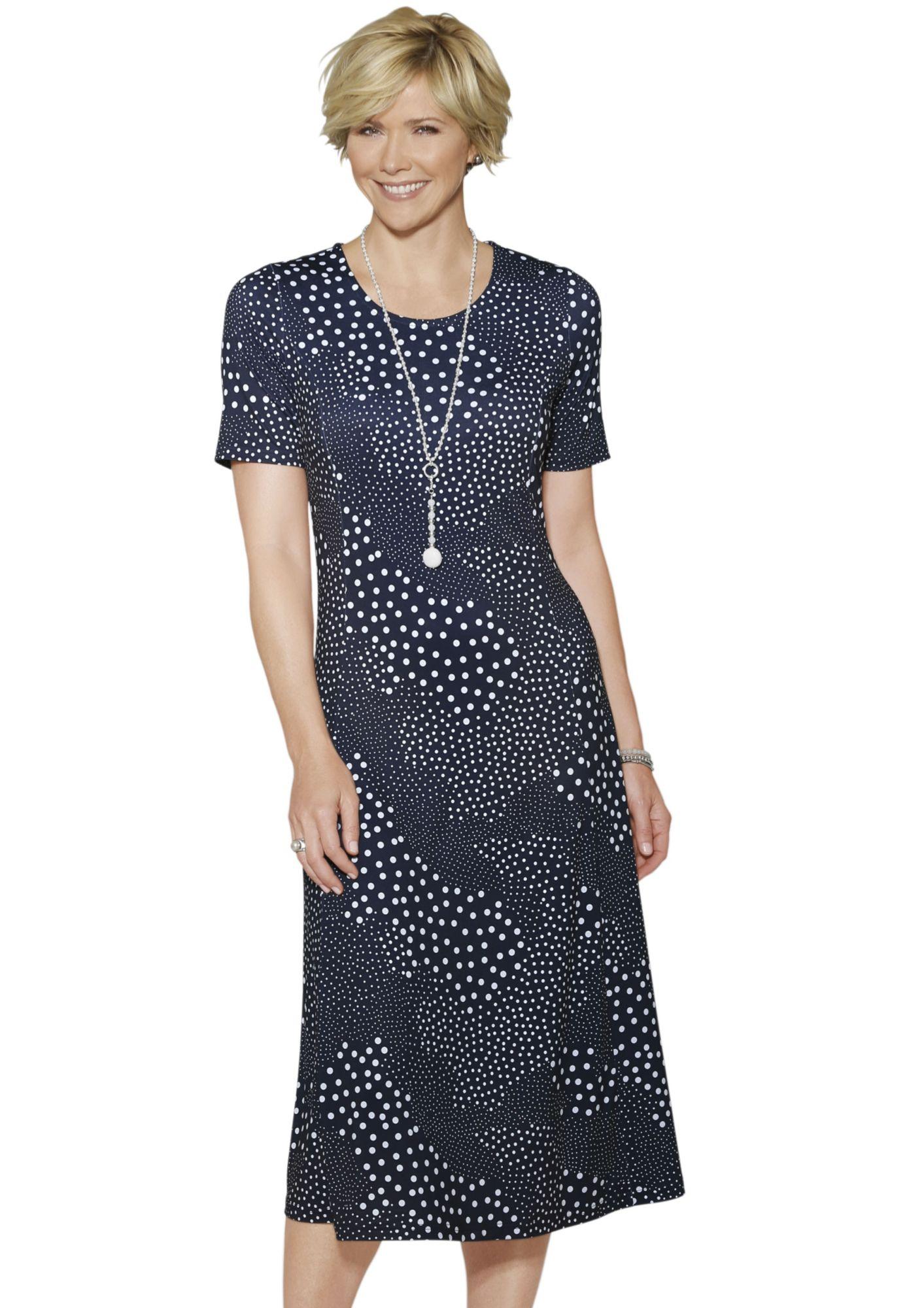 CLASSIC Classic Jersey-Kleid mit angesagtem Patchwork-Tupfen-Druck