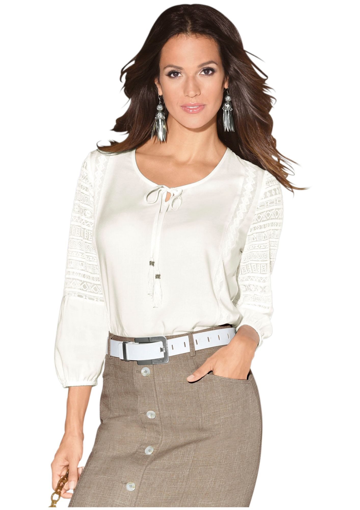 CLASSIC INSPIRATIONEN Classic Inspirationen Bluse mit hochwertigen, transparenten Spitzeneinsätzen