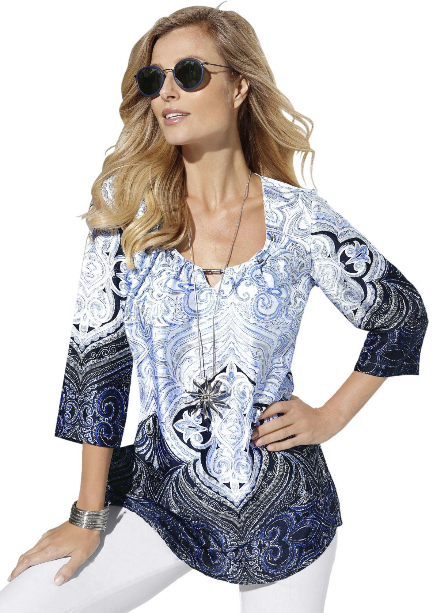 FAIR LADY Fair Lady Bluse in glänzender Satin-Optik