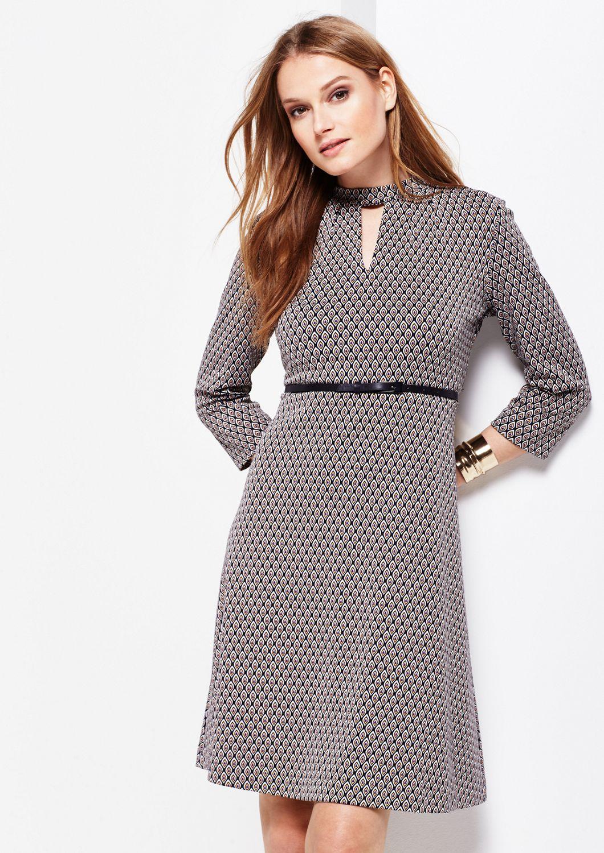 COMMA  3/4-Arm Kleid mit liebevoll gestaltetem Allovermuster