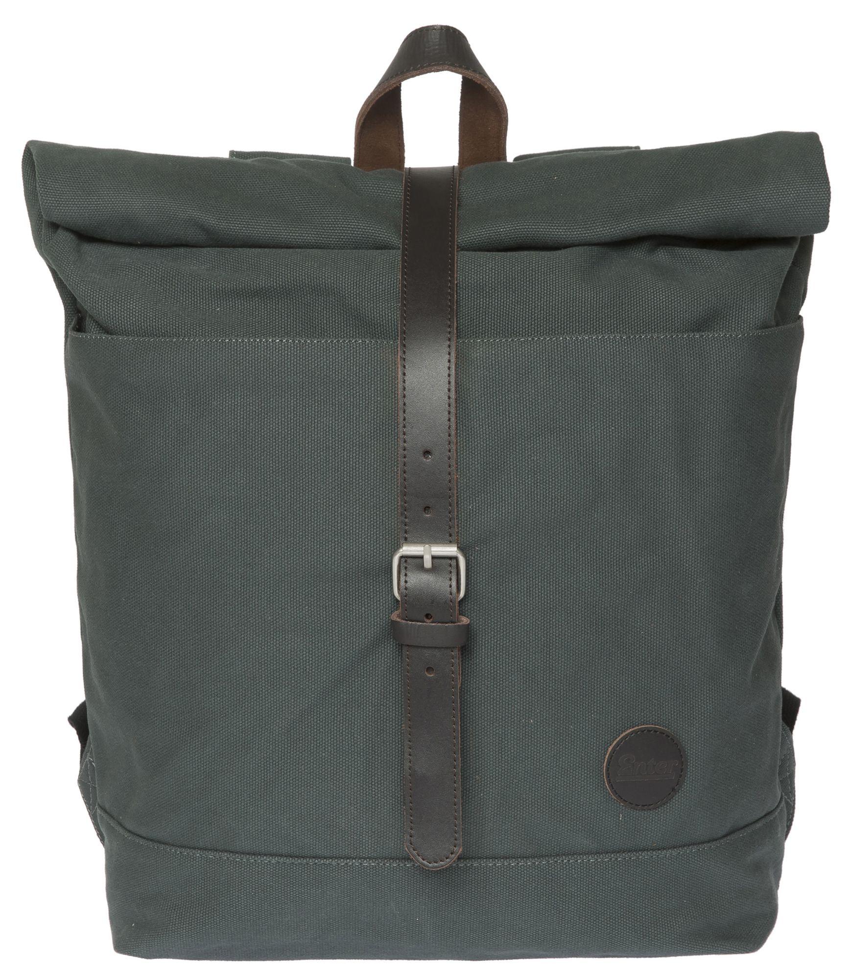 ENTER Enter Rucksack mit Aufroll-Verschluss, »Roll Top Backpack, Army Green/Dark Brown Leather«