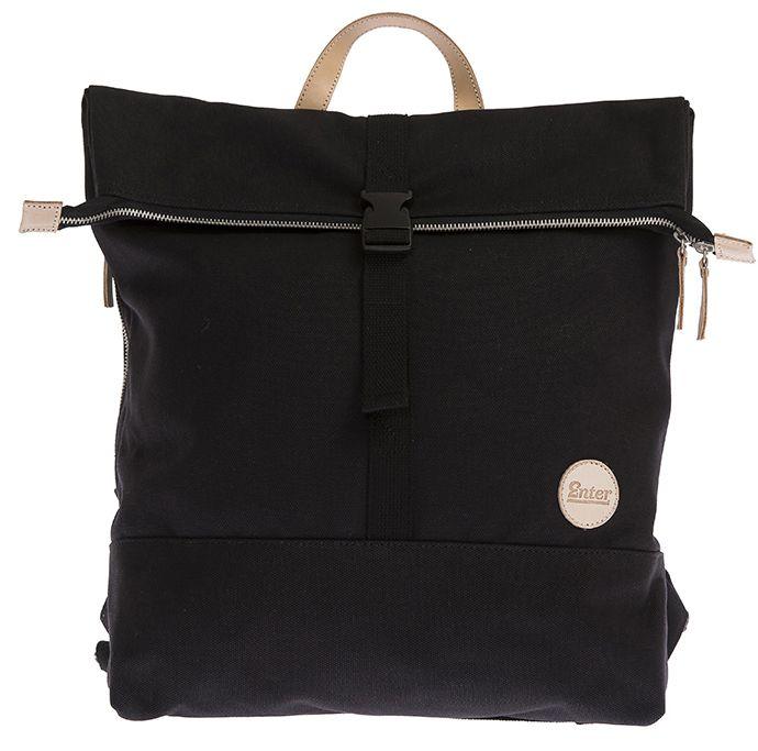 ENTER Enter Rucksack, »Top Zip Backpack Lite, Black/Natural Leather«