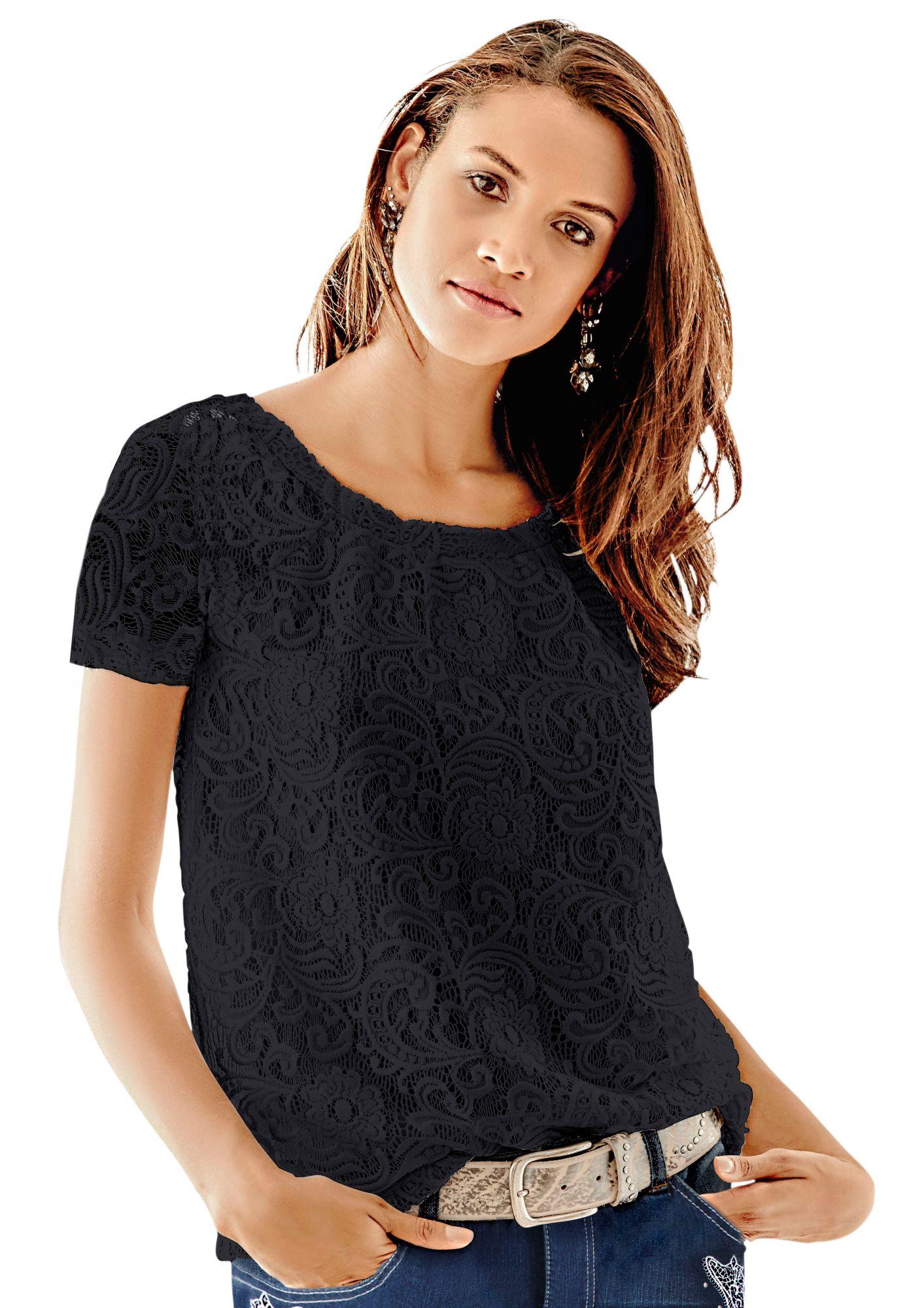 FAIR LADY Fair Lady Spitzen-Shirt mit leicht transparenten Ärmel