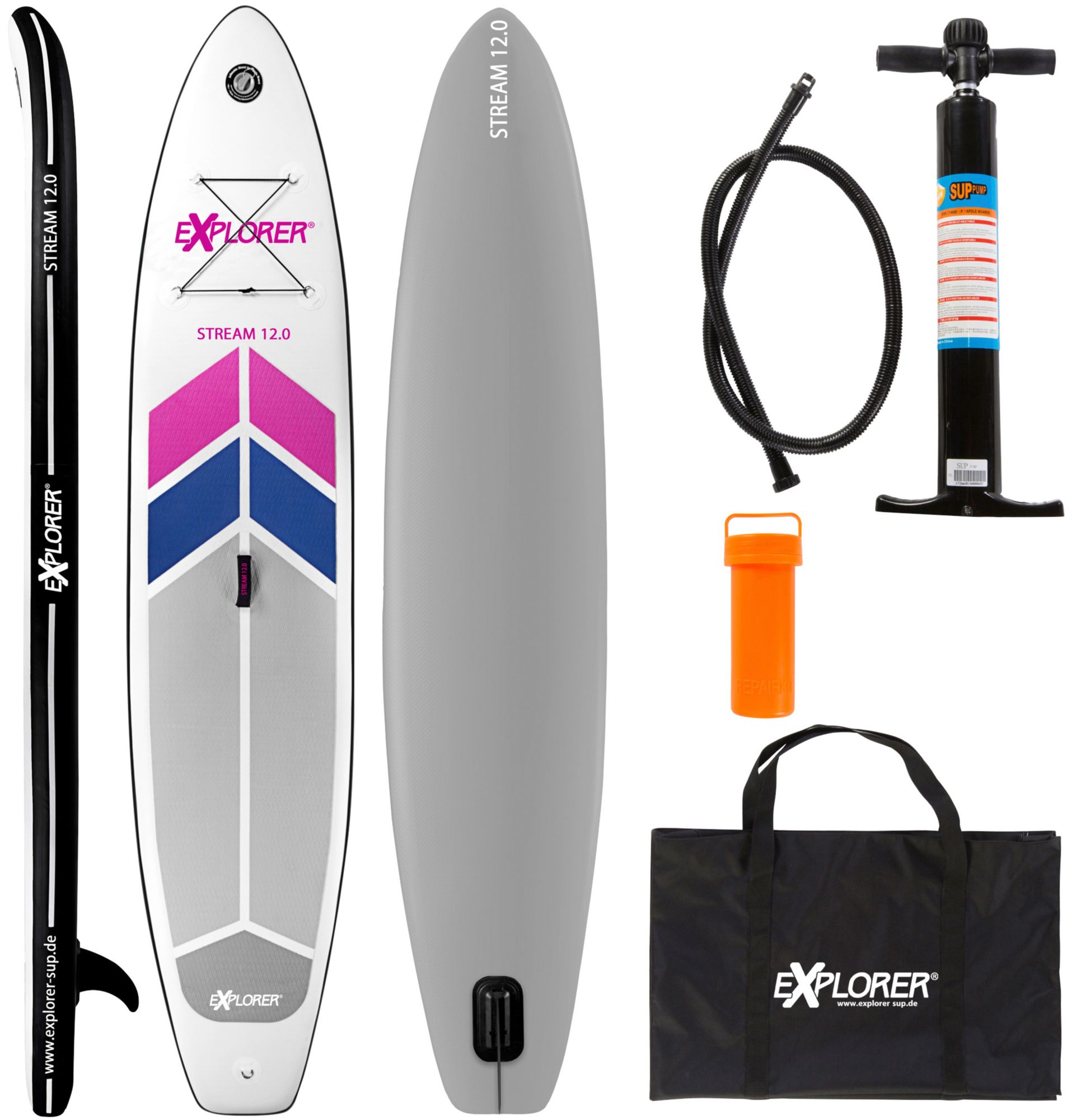EXPLORER Explorer Stand Up Paddle SUP-Board »Stream 12.0«, BxL: 81 x 366 cm