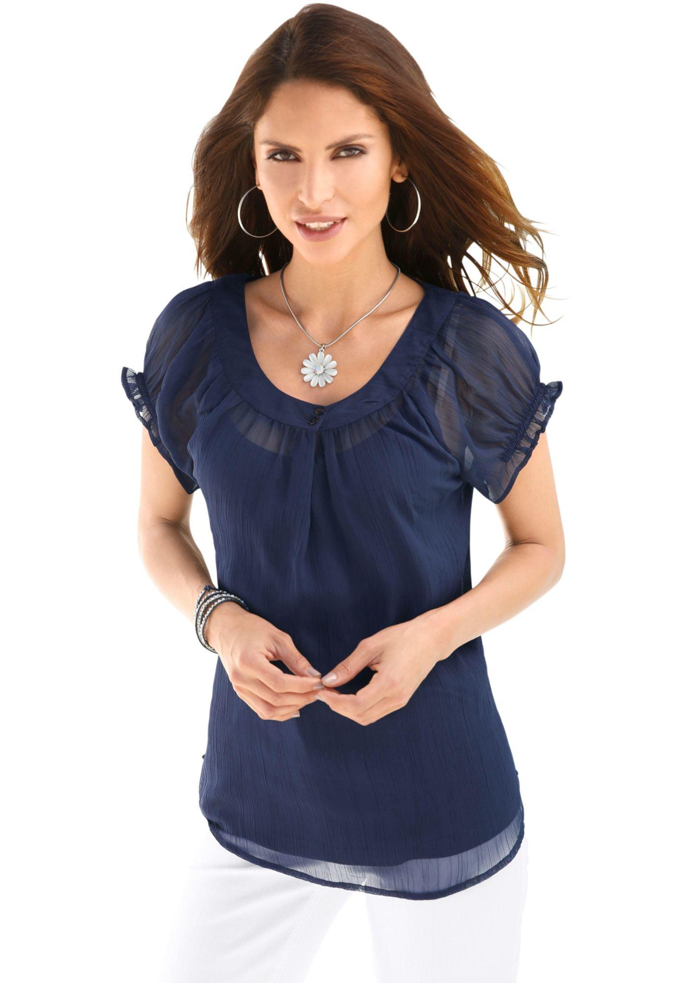 ALESSA W Alessa W. Bluse + Top: Bluse mit Blende und Zierknöpfen