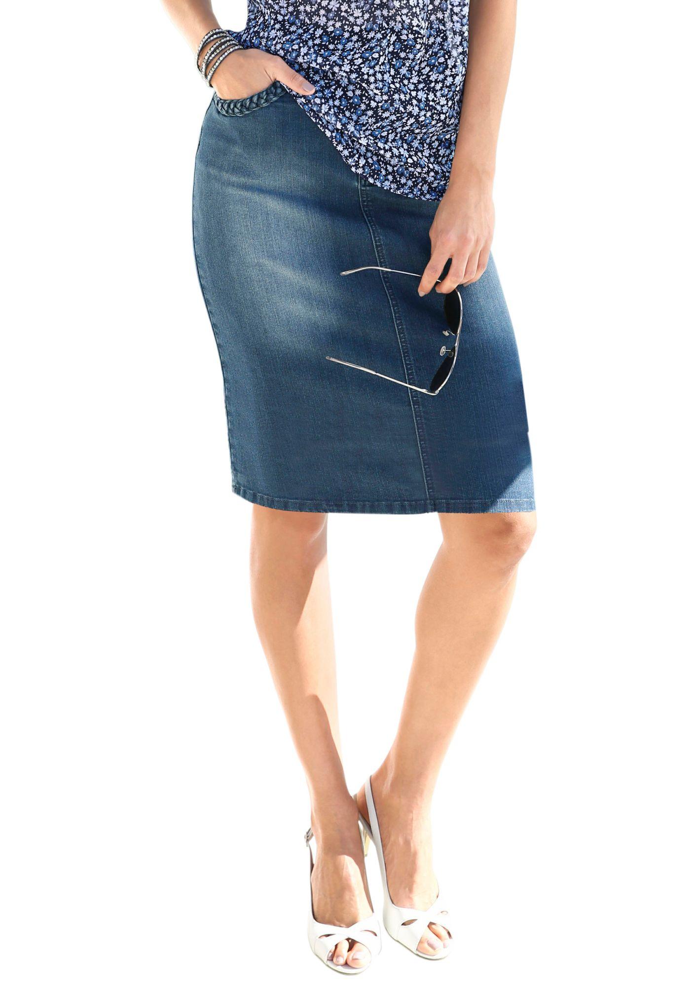 ALESSA W Alessa W. Jeans-Rock in modischer Waschung