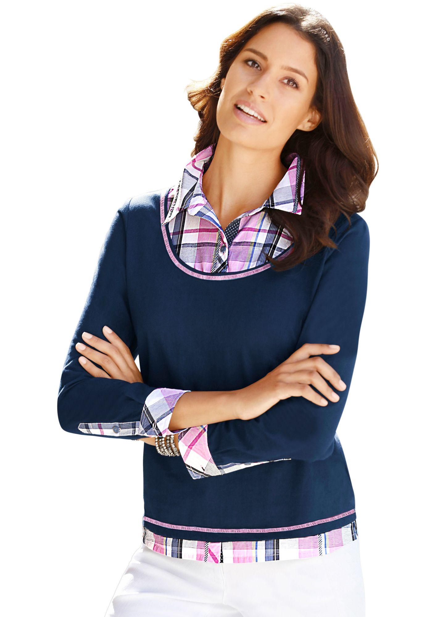 ALESSA W Alessa W. 2-in-1-Shirt mit Karo-Einsätzen in Web-Qualität