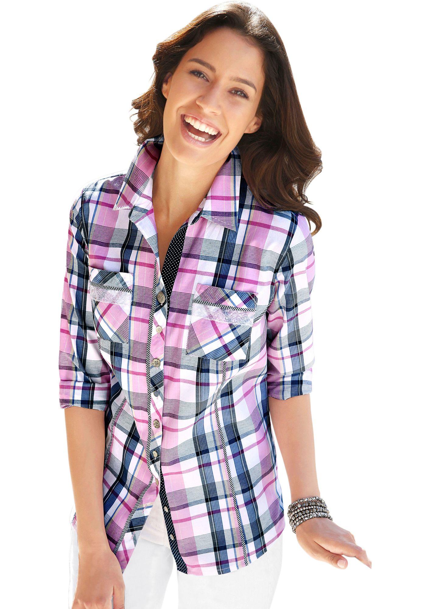 CLASSIC INSPIRATIONEN Classic Inspirationen Bluse mit Streifenpaspeln