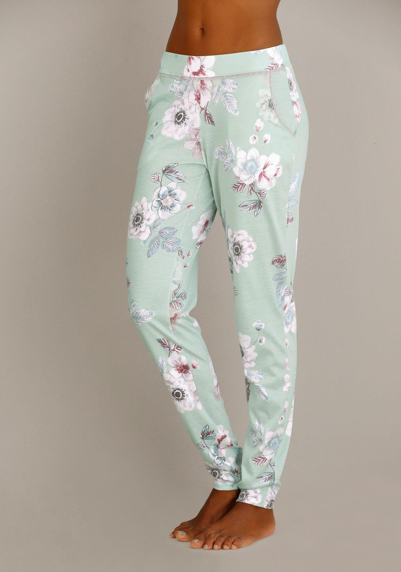CALIDA Calida Geblümte Pyjamahose mit Spitzenkante