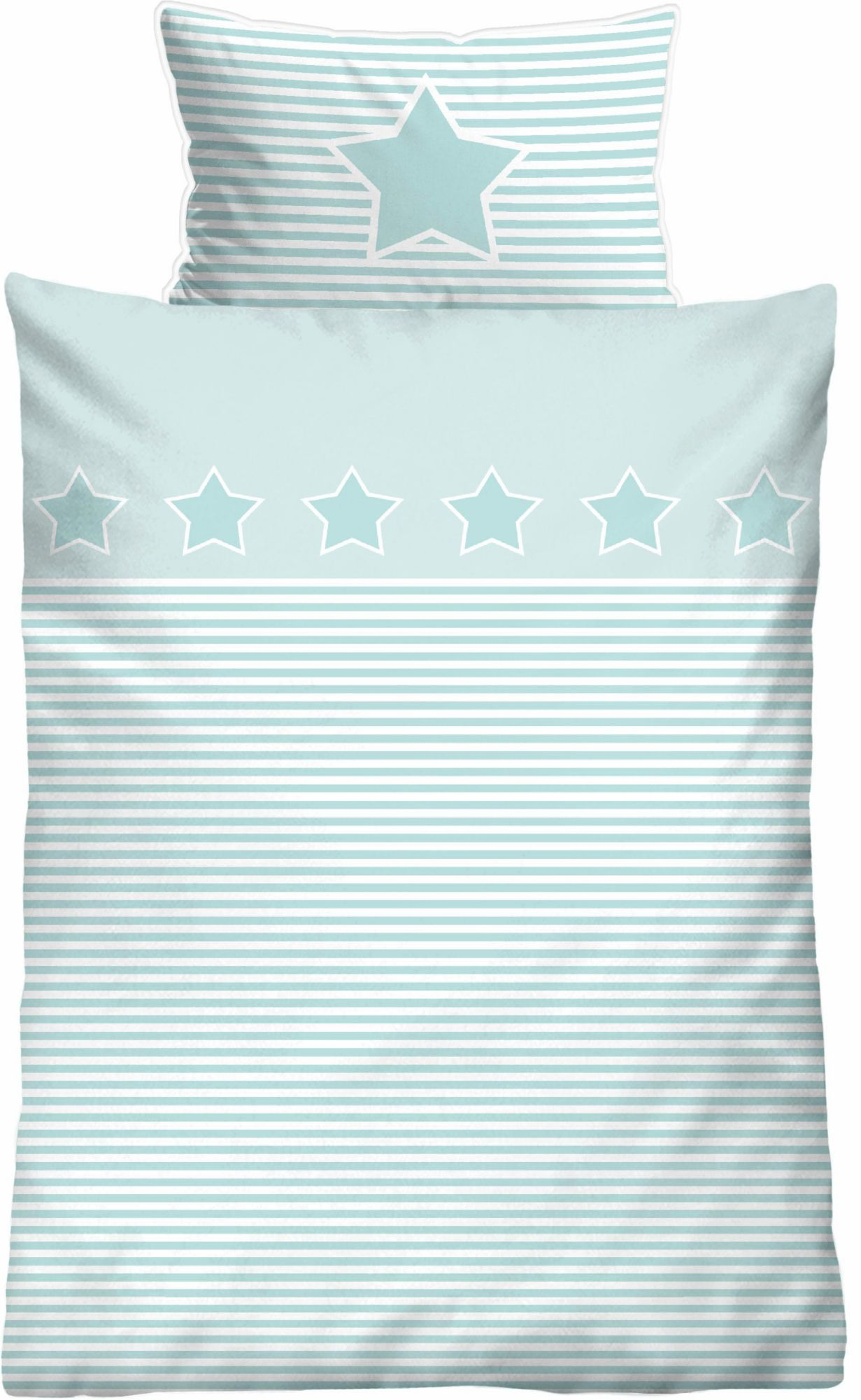 BIBERNA Babybettwäsche, Biberna, »Striped Star«, mit Querstreifen & Motiv