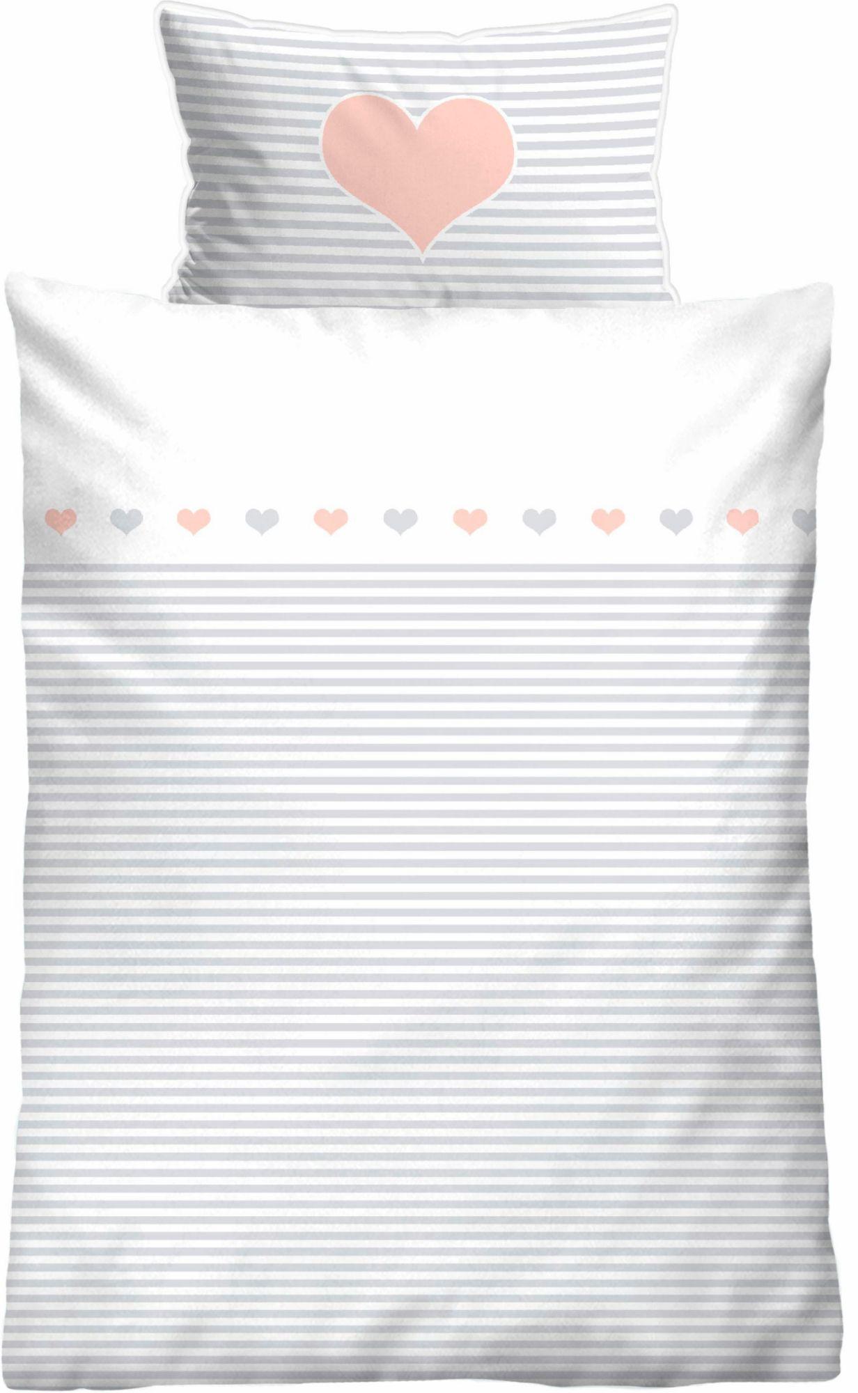 BIBERNA Babybettwäsche, Biberna, »Striped Heart«, mit Querstreifen & Motiv