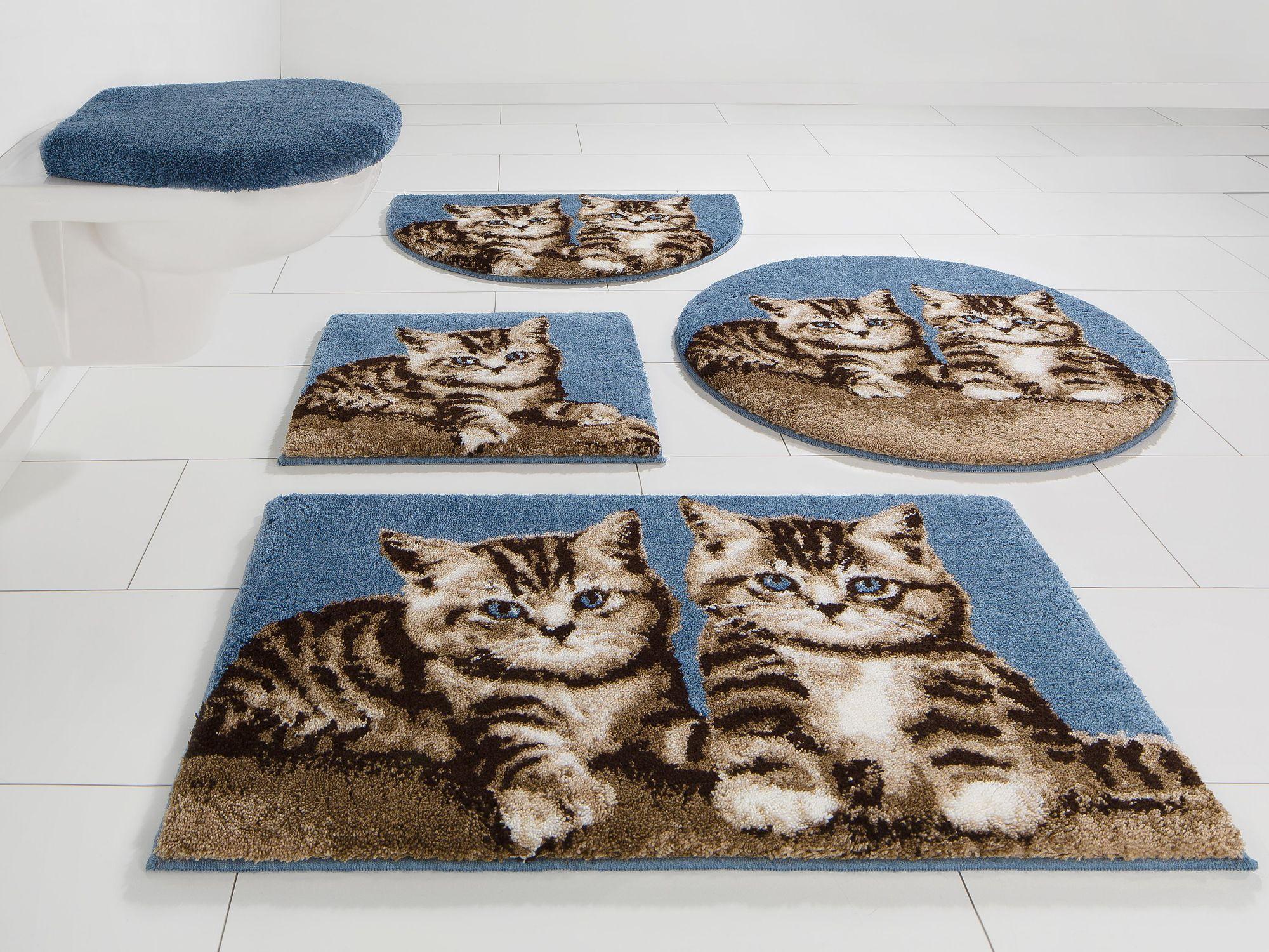 GRUND Badematte, 3-tlg. Hänge WC-Set, , »Katze«, Höhe 20 mm, rutschhemmender Rücken