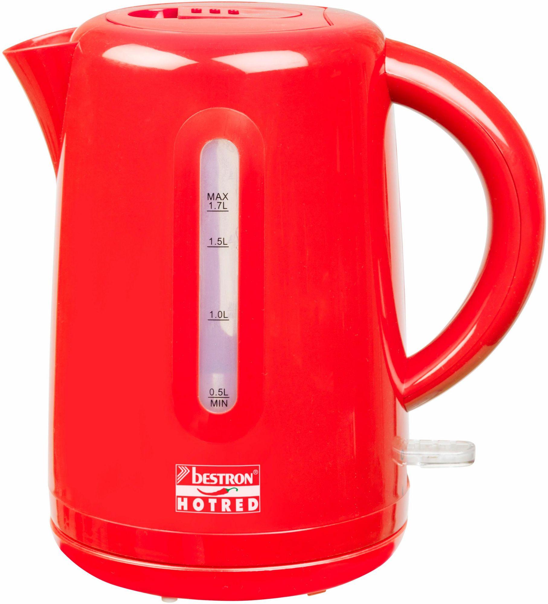 BESTRON Bestron Wasserkocher AWK300HR für 1,7 Liter, 1850-2200 Watt, rot