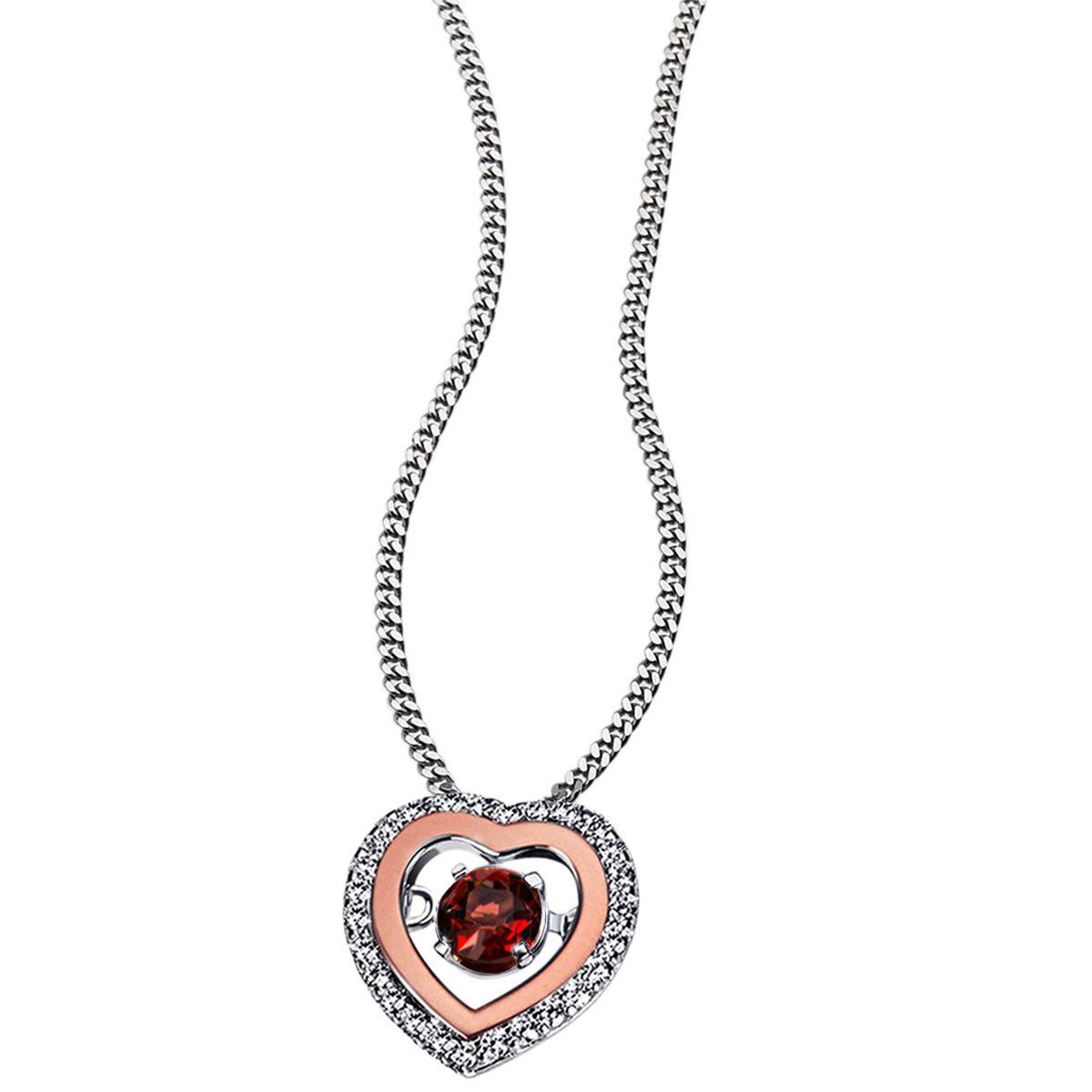 AVERDIN Averdin Collier 925/- Silber 1 rot brauner Granat 26 Zirkonia