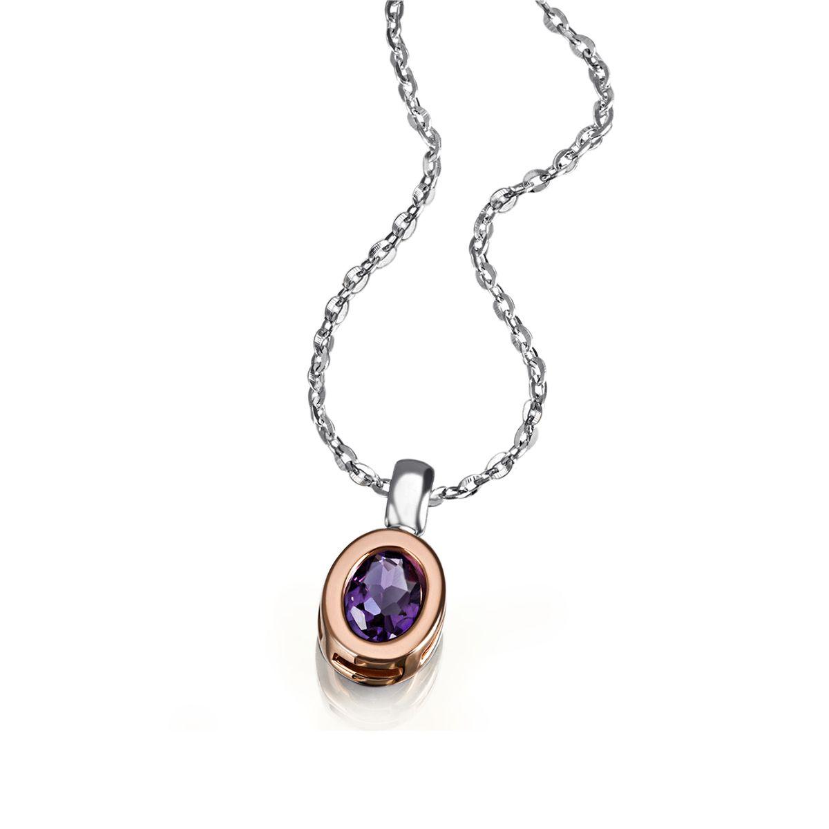 AVERDIN Averdin Collier 925/- Silber teilweise rot vergoldet 1 lila Amethyst