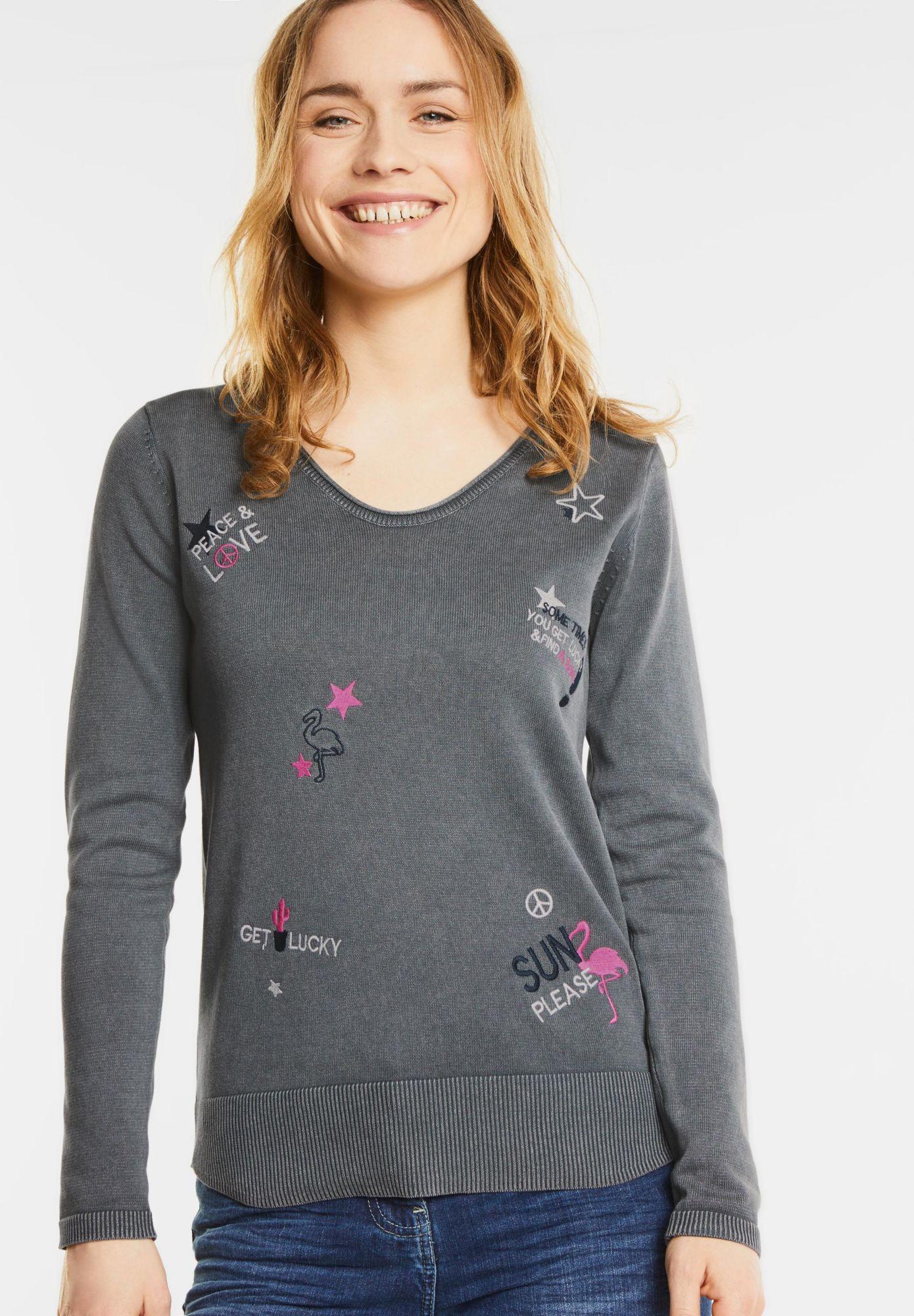 CECIL  Bestickter V-Neck Pullover