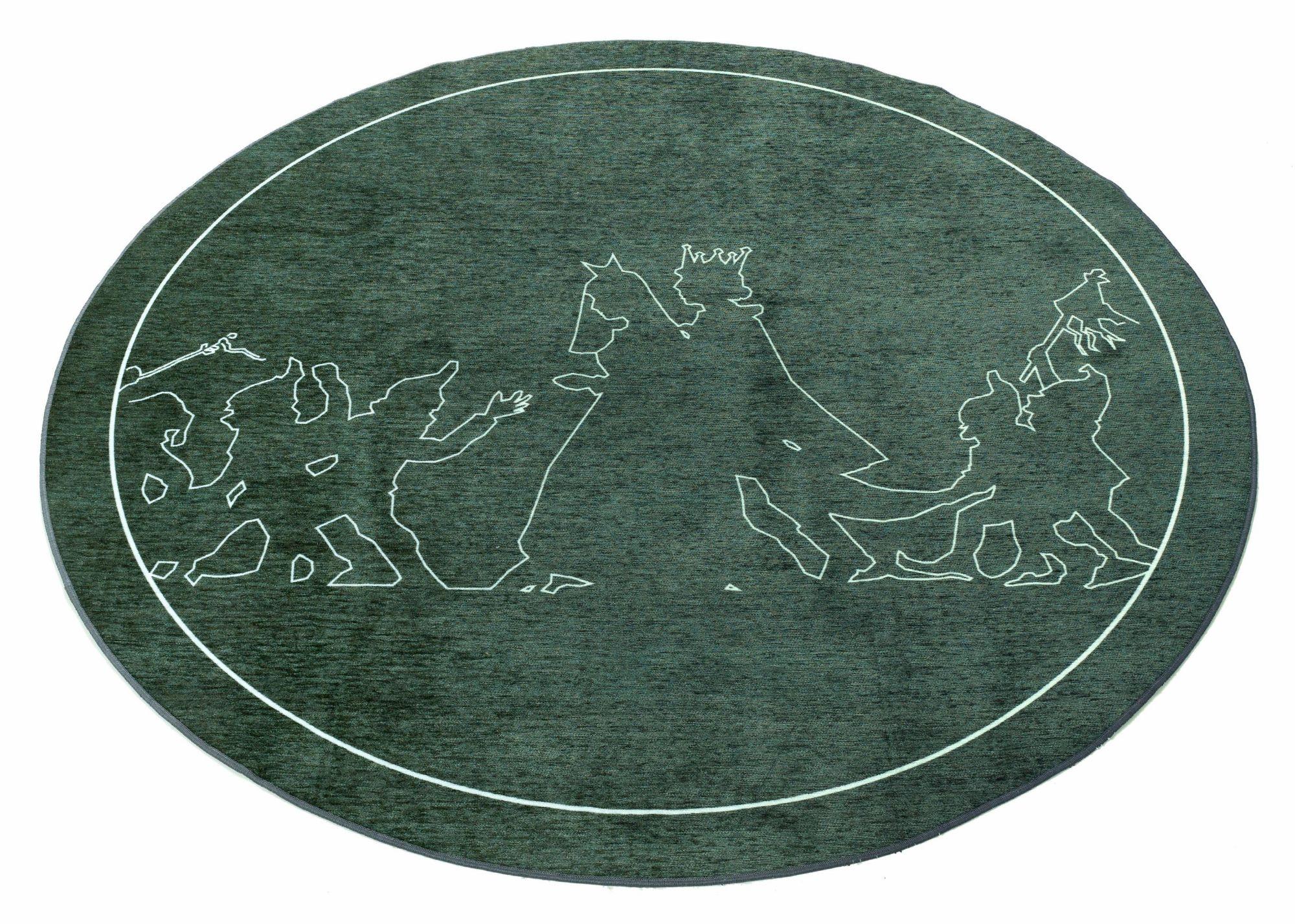 GRIMMLIIS Kinder-Teppich, rund, Grimmliis, »Märchen 3«, Höhe 2 mm,  Flachgewebe