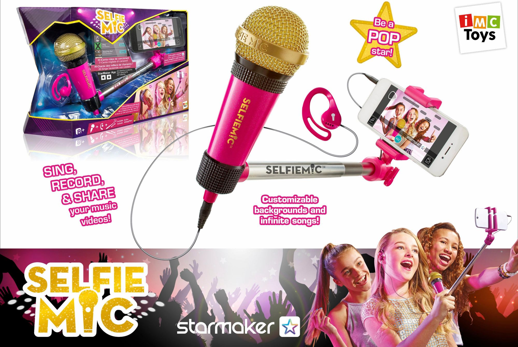 IMC TOYS IMC Toys Mikrofon und Selfiestick, »Selfie MIC Pink«