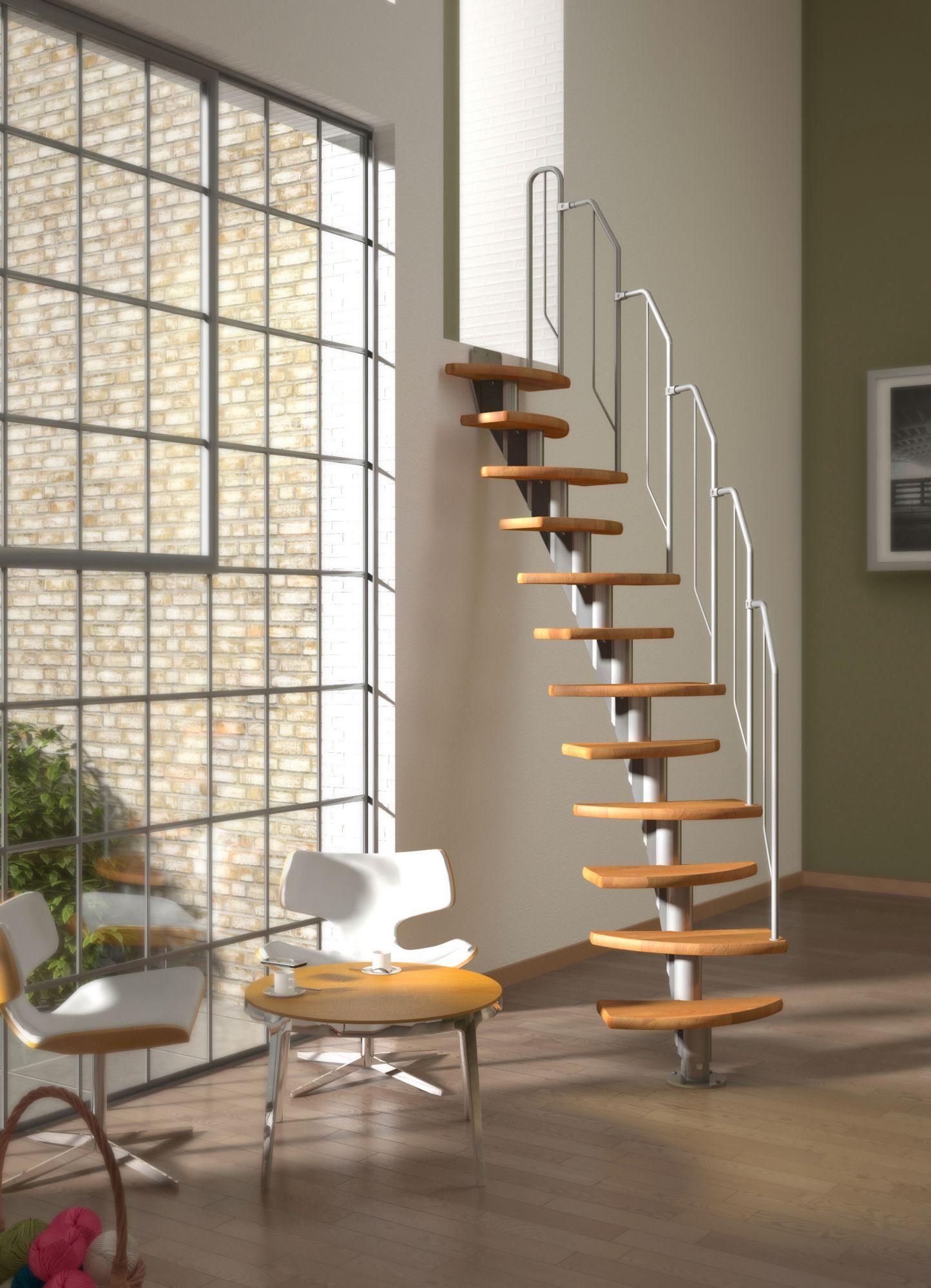 DOLLE  Systemtreppe »Berlin«, Metallgeländer und -handlauf, Buche, BxH: 64x315 cm