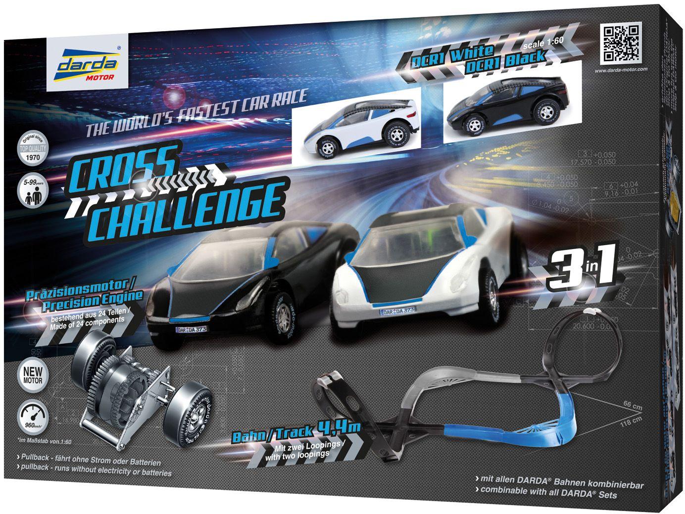 DARDA ® Autorennbahn mit 2 Fahrzeugen, »Cross Challenge«