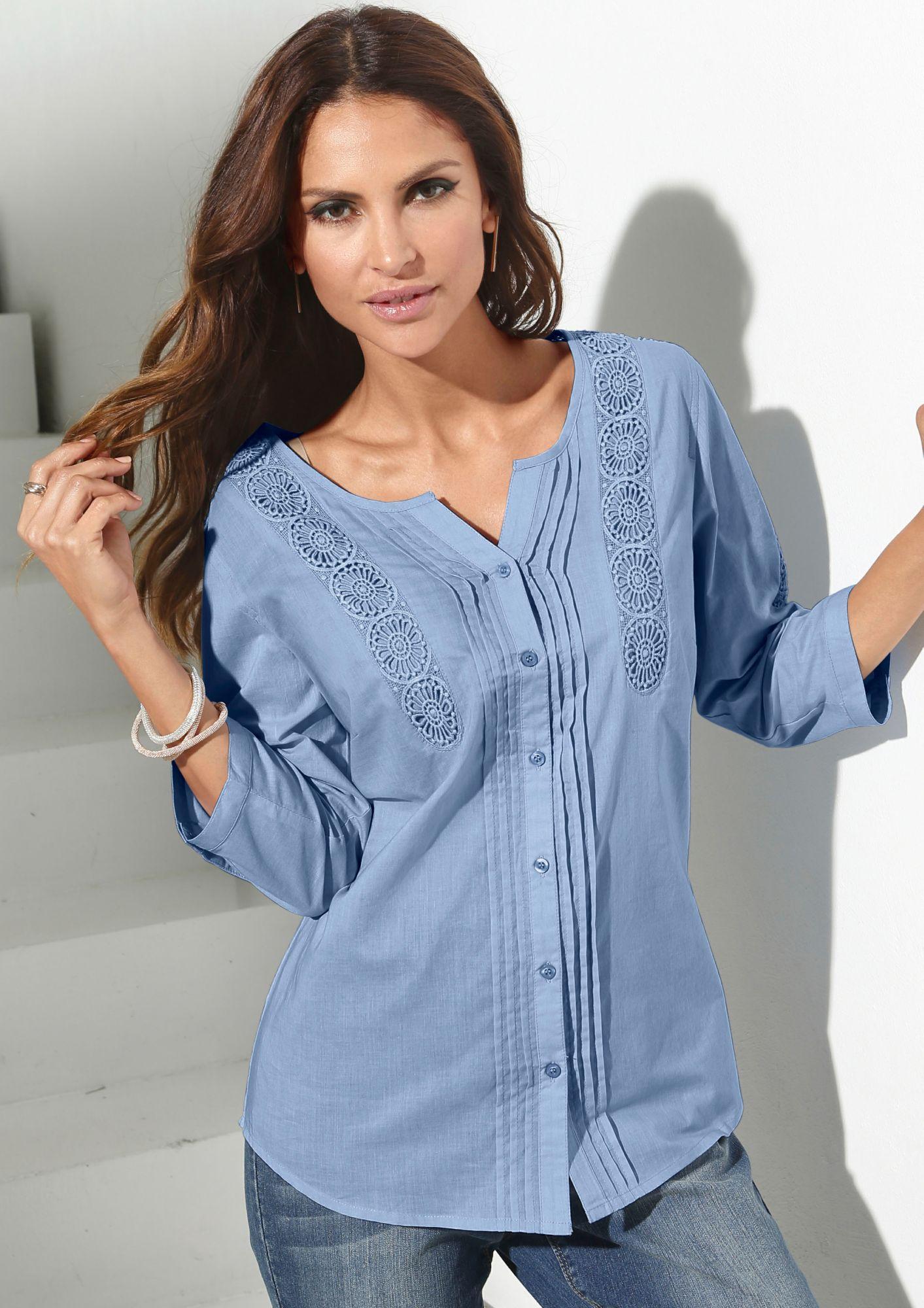 CLASSIC INSPIRATIONEN Classic Inspirationen Bluse aus reiner Baumwolle