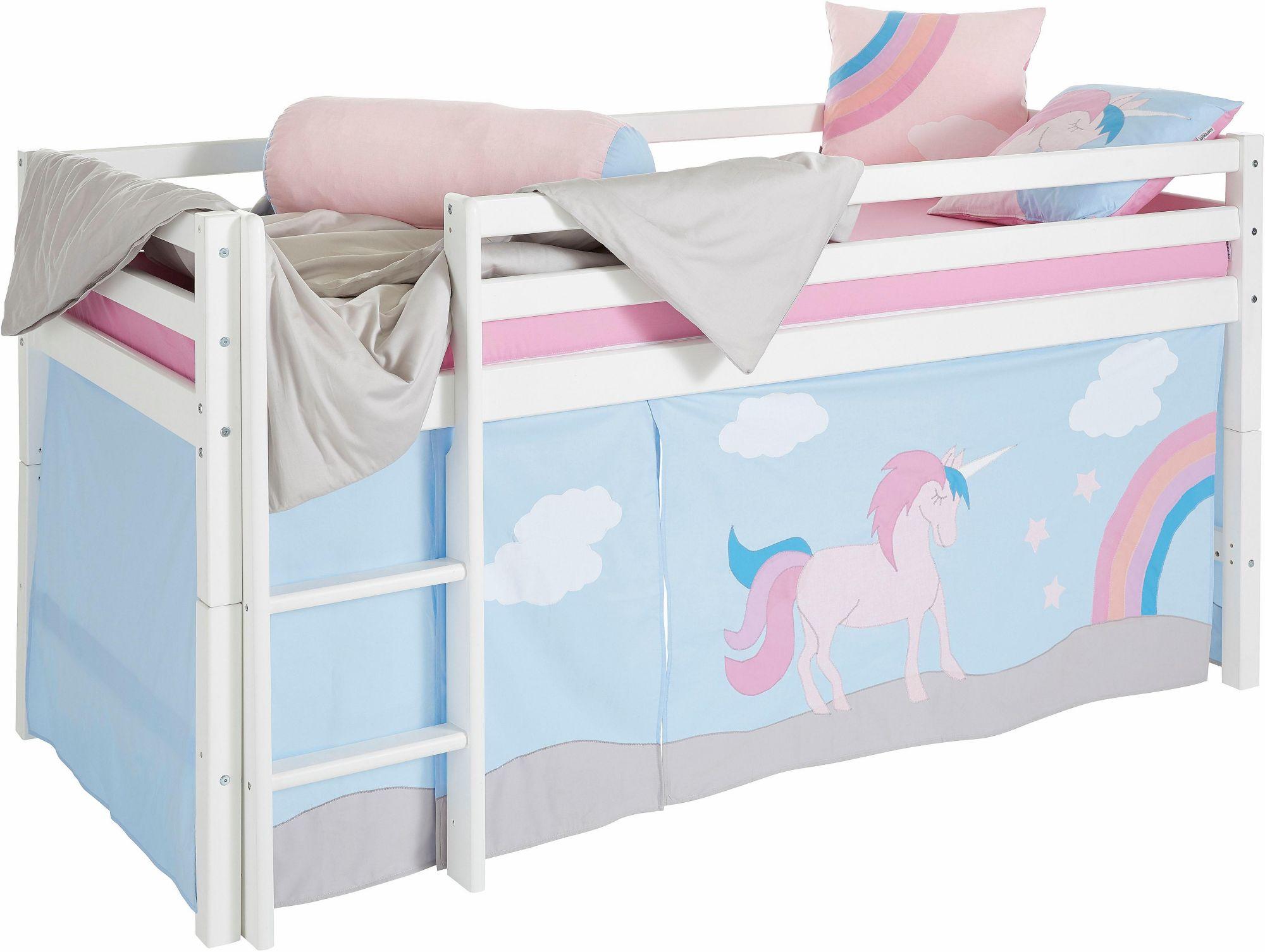 HOPPEKIDS Hoppekids Halbhohes Bett »Einhorn«, inkl. Vorhang-Set, Matratze und Rollrost