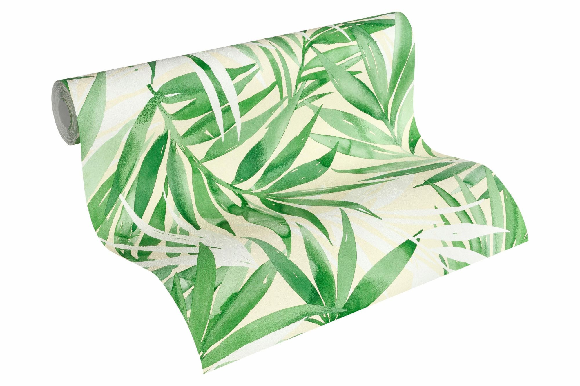 DESIGNDSCHUNGEL BY LAURA N Vliestapete, »Tapete mit Palmenprint Designdschungel by Laura N.«, grasgrün, weißgrün, weiß, hellelfenbein