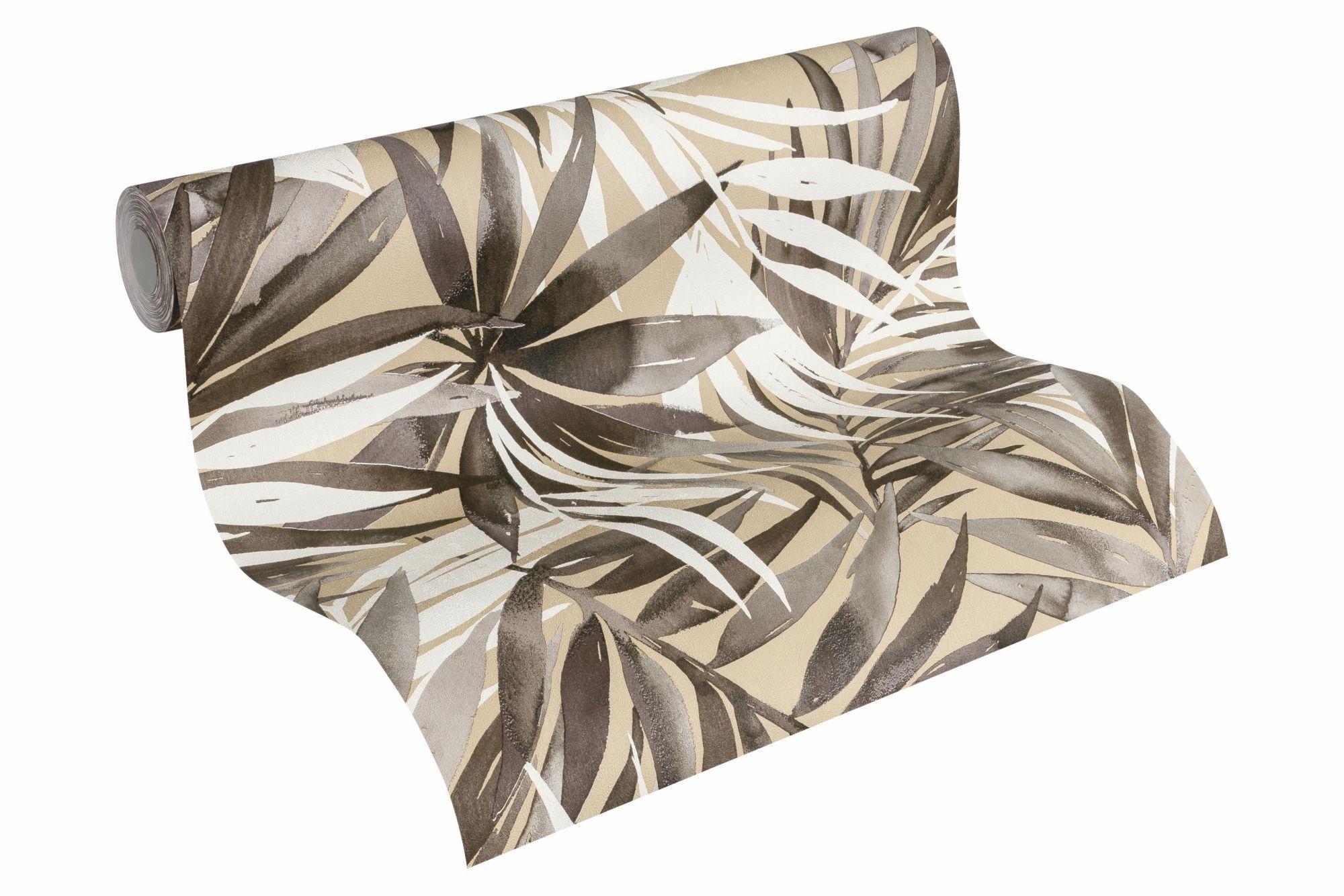 DESIGNDSCHUNGEL BY LAURA N Vliestapete, »Tapete mit Palmenprint Designdschungel by Laura N.«, braungrau, graubeige, weiß