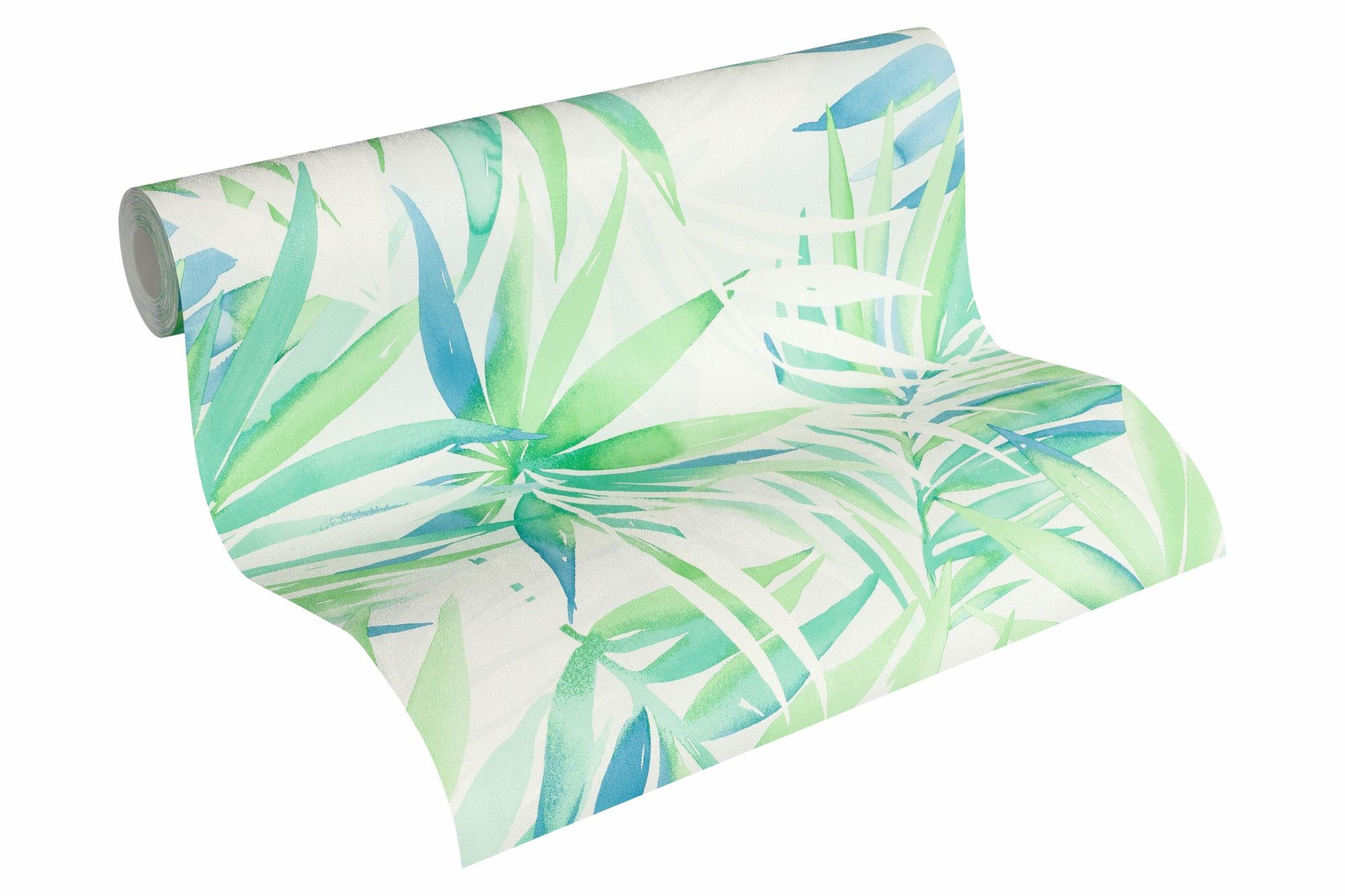 DESIGNDSCHUNGEL BY LAURA N Vliestapete, »Tapete mit Palmenprint Designdschungel by Laura N.«, weißgrün, pastelltürkis, weiß, grauweiß