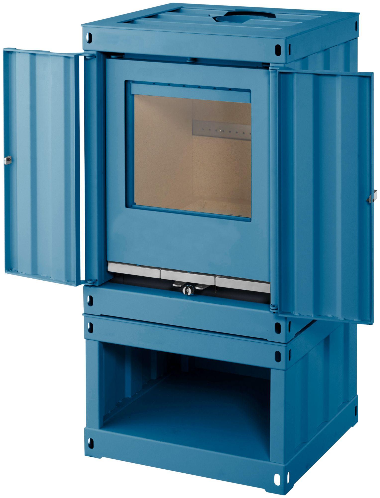 COLOR EMAJL  Kaminofen »Rotterdam«, Stahl blau, 5 kW, ext. Luftzufuhr, Containerstyle